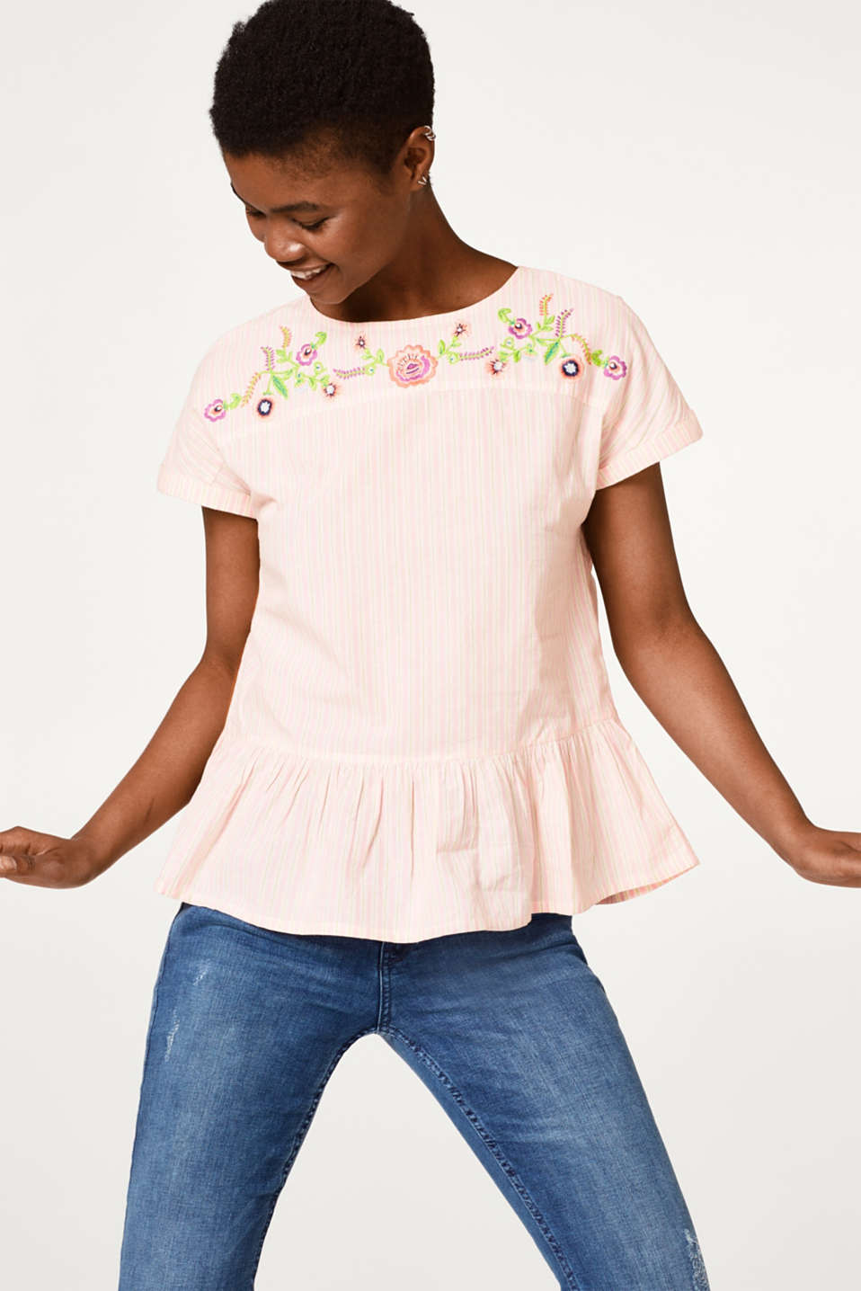 edc - Striped cotton blouse with floral embroidery