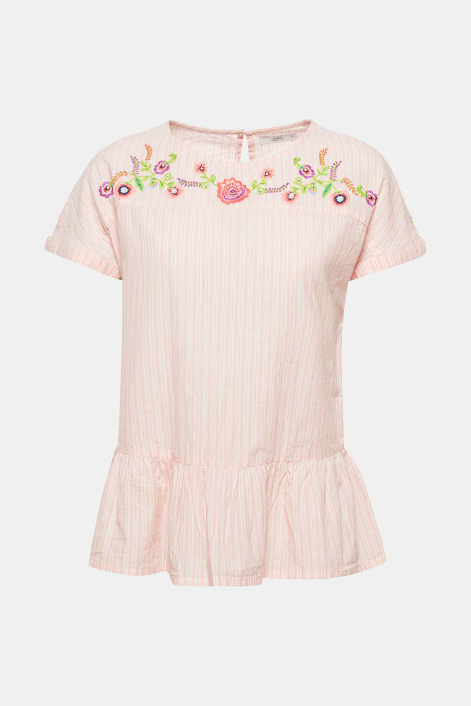 The flounce and floral embroidery enhance this striped pure cotton design with pretty femininity.