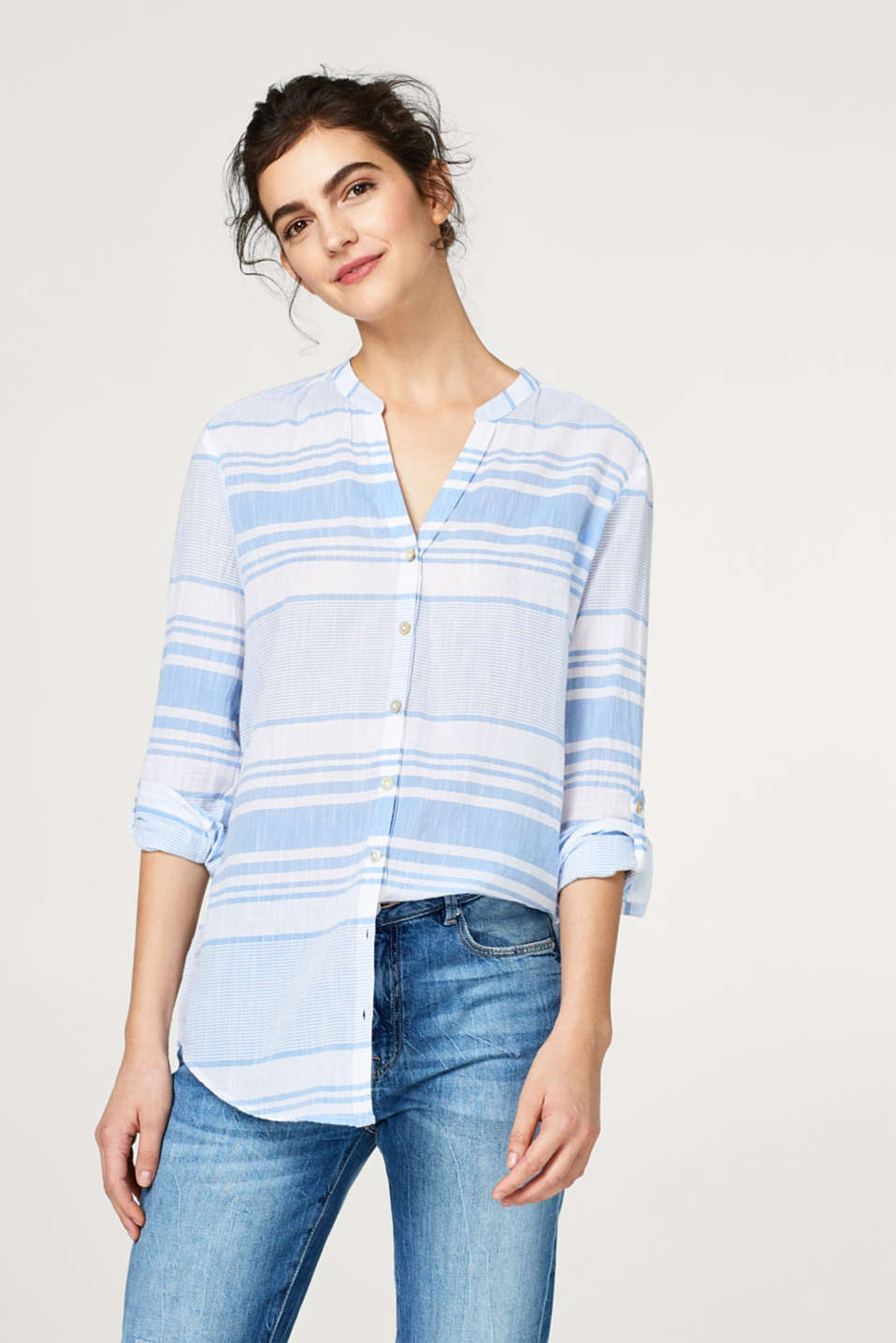 edc - Lightweight cotton blouse with turn-up sleeves