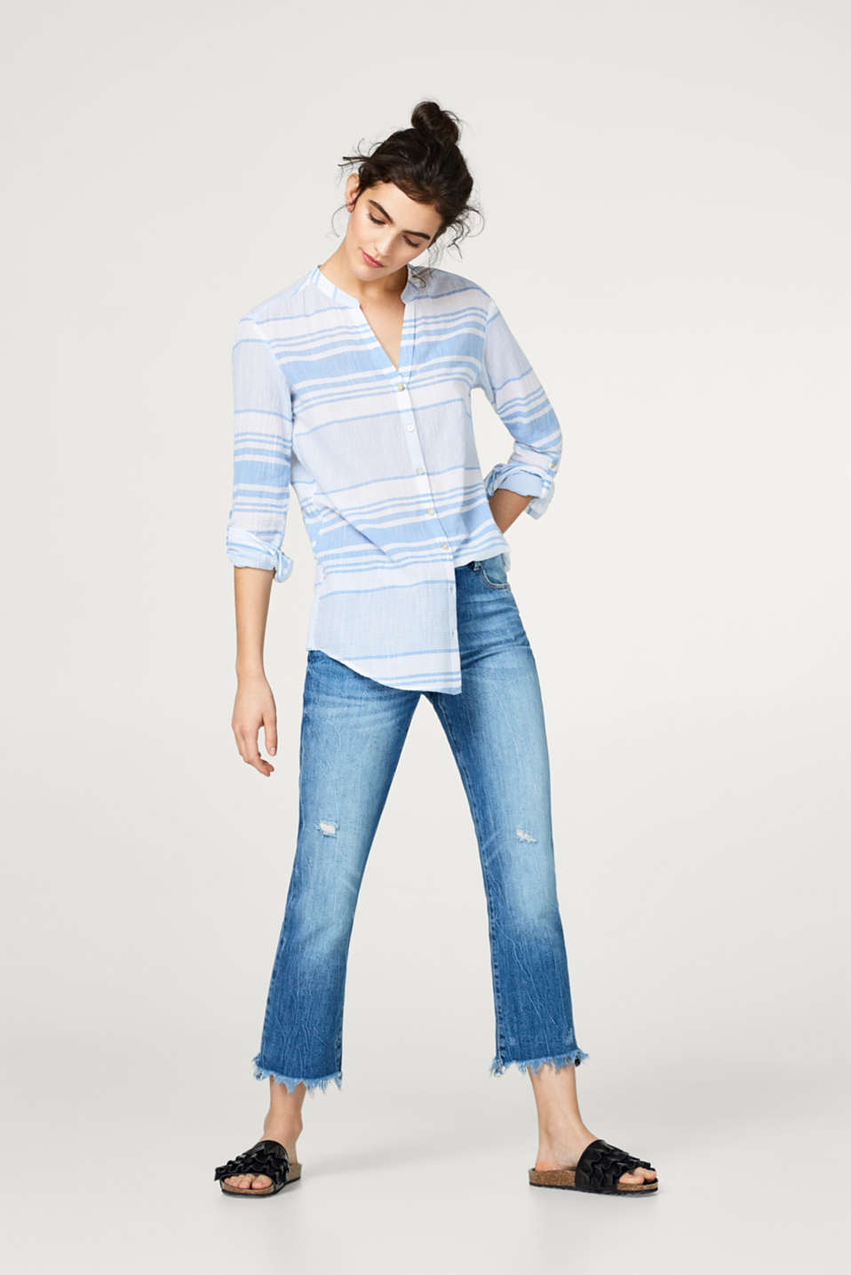 Lightweight cotton blouse with turn-up sleeves