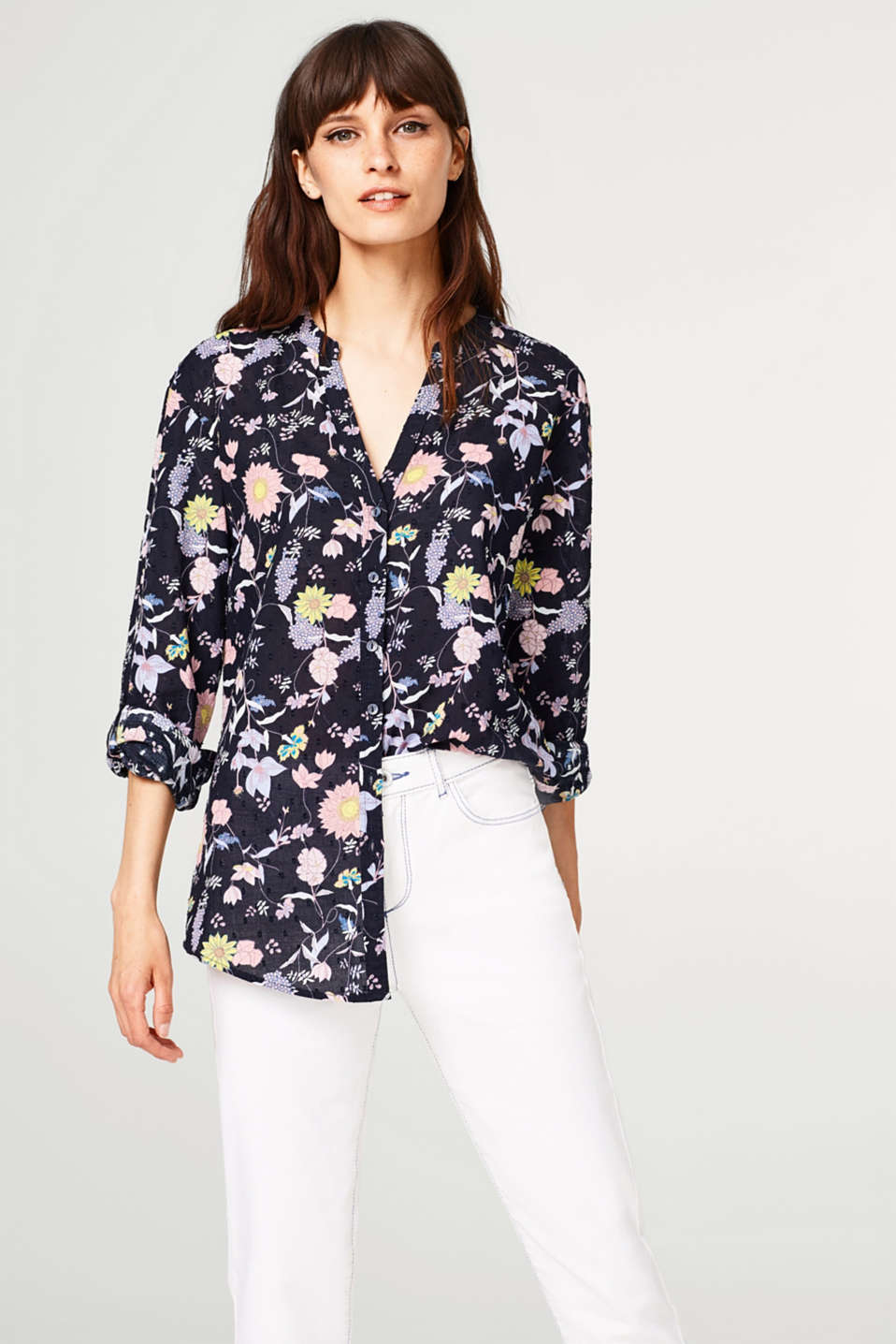 edc - Lightweight turn-up blouse with a floral print