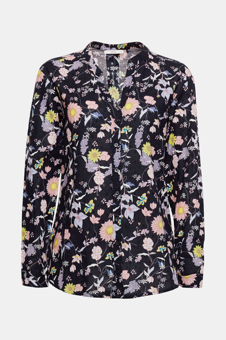 Let the spring into your wardrobe with this floral print blouse in floaty cotton with a nubbed texture.