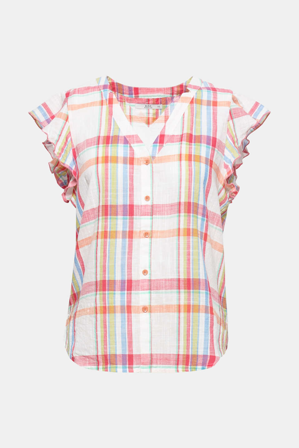 The pretty flounce sleeves and deep V-neck make this classically checked blouse both feminine and eye-catching!