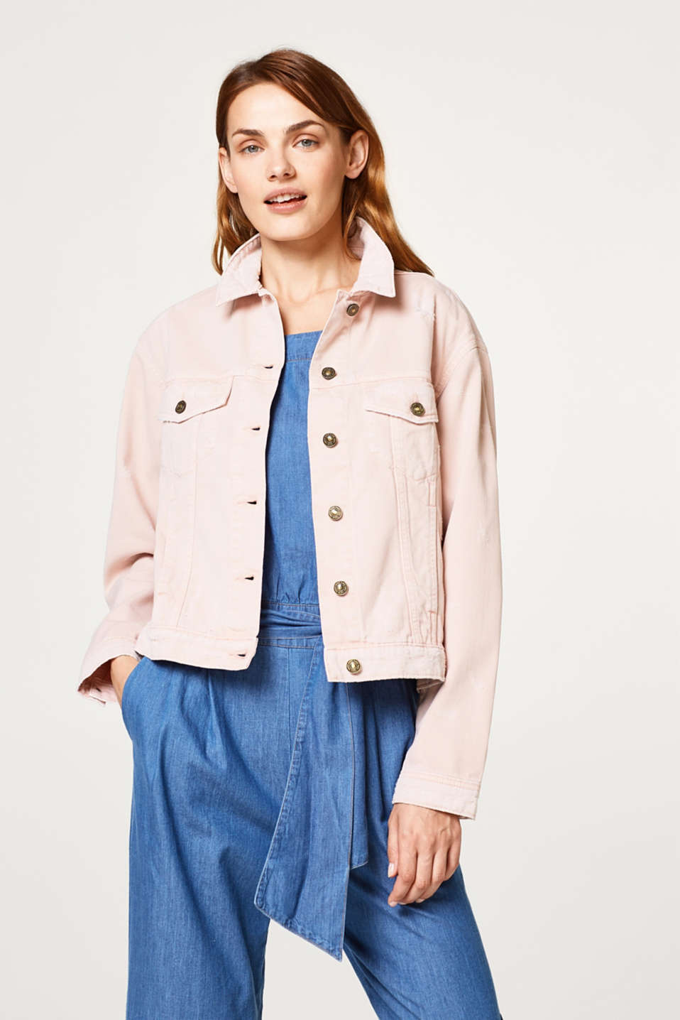 edc - Slightly oversized denim jacket in a distressed look
