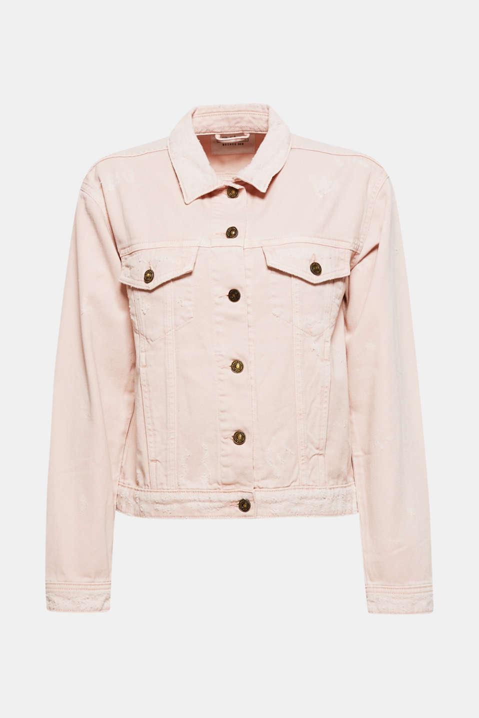 The cool, distressed finish and soft pastel colour give this casual cut denim jacket its trendy summer look.