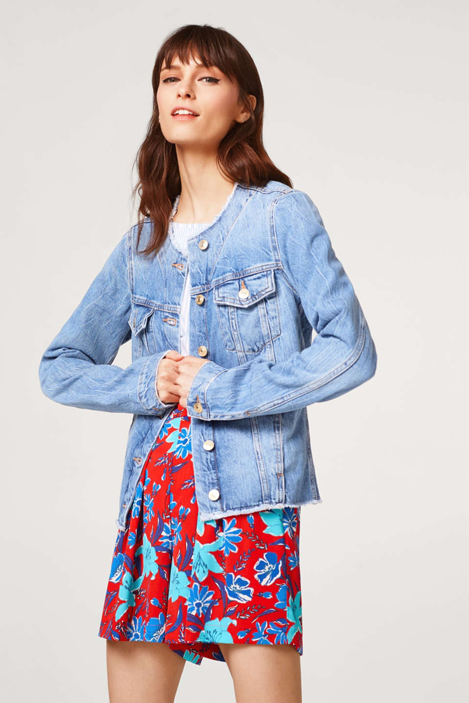 edc - Denim jacket with frayed hems, 100% cotton