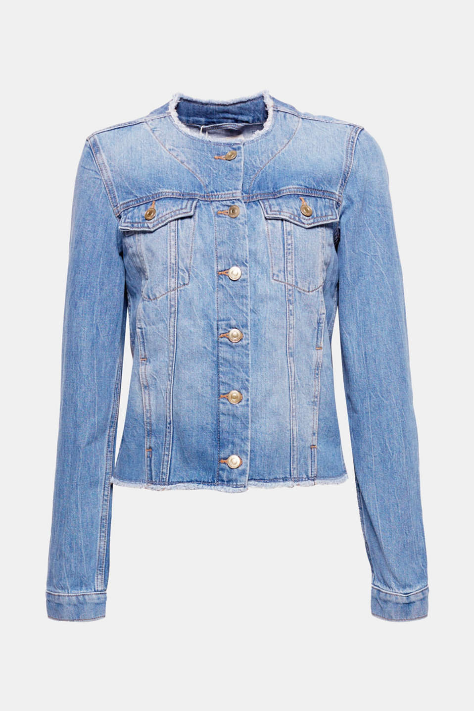 This denim jacket is a versatile must-have basic thanks to the casual look created by a washed finish and fringed edges.