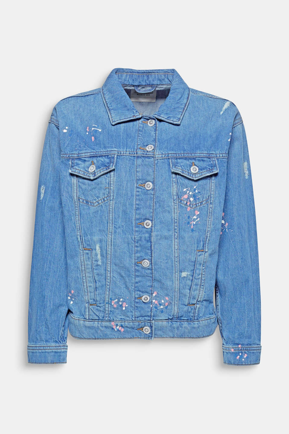 Bright flecks of colour, a casual garment washed finish and vintage effects give this oversized denim jacket its cool look!