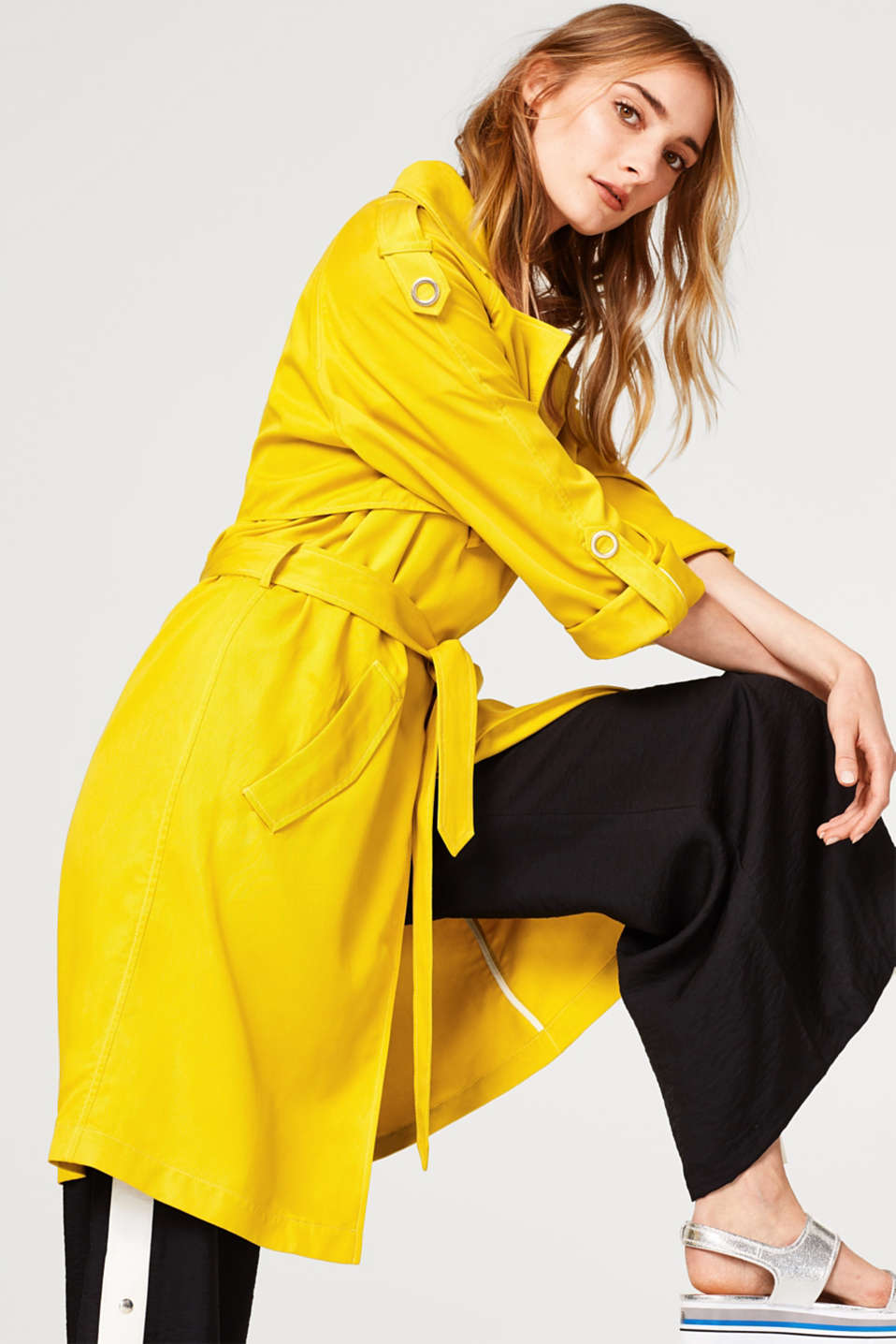 edc - Soft lyocell trench coat with turn-up sleeves