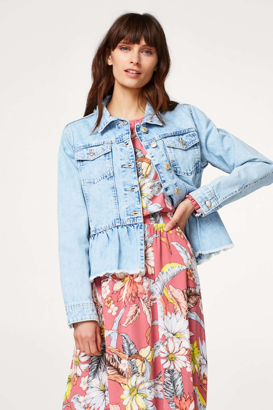 edc - Denim jacket with a frilled hem
