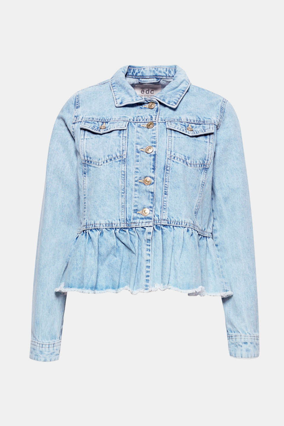 Casual, pretty and unique: this trendy denim jacket is sure to catch the eye thanks to the pretty frilled hem.