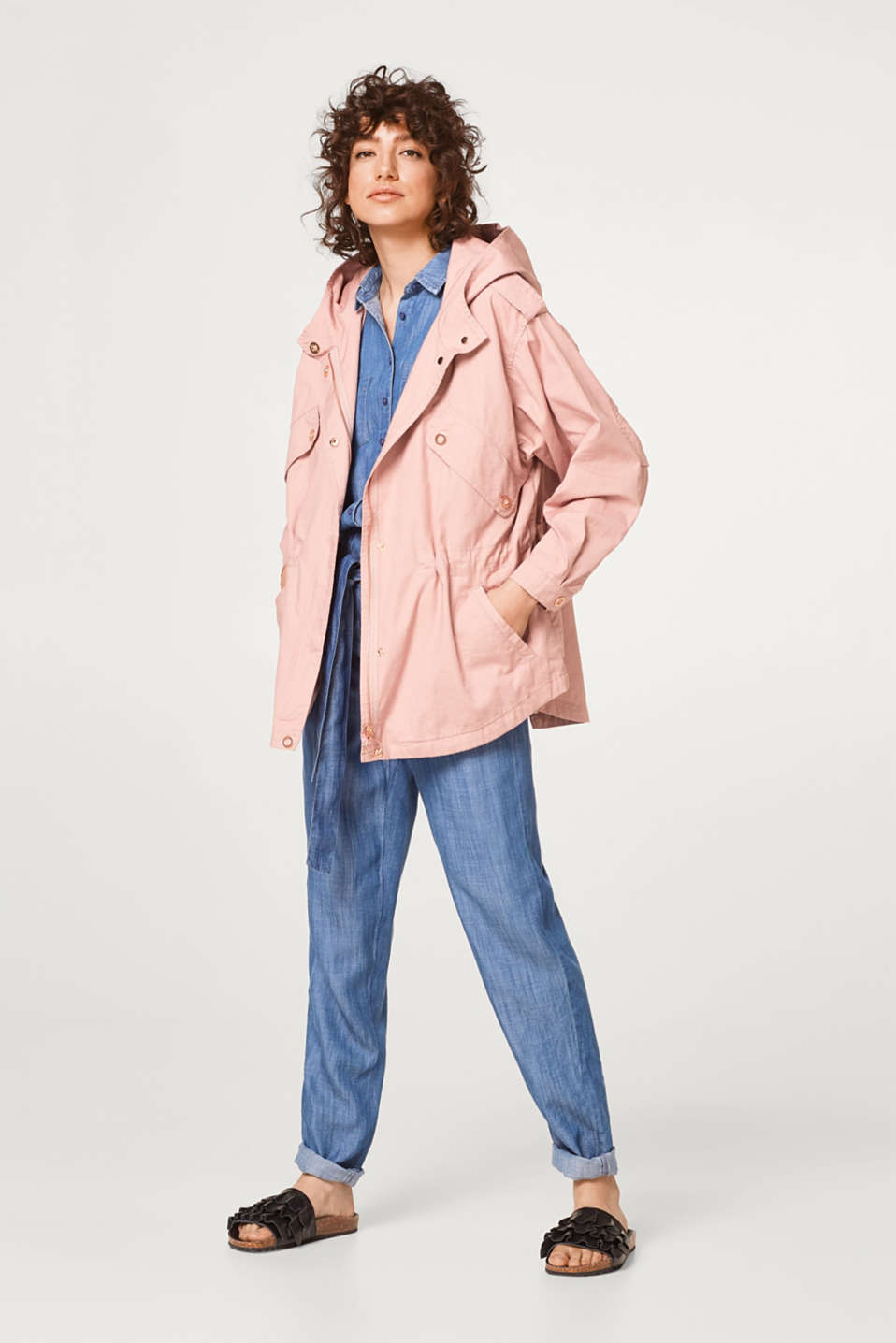 Boxy parka jacket in 100% cotton
