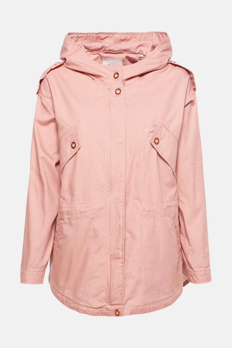 This short cotton parka with a trendy oversized silhouette and adjustable waist is incredibly comfortable and a stylish piece at the same time. Red gold coloured metal details give the piece a stylish finish.