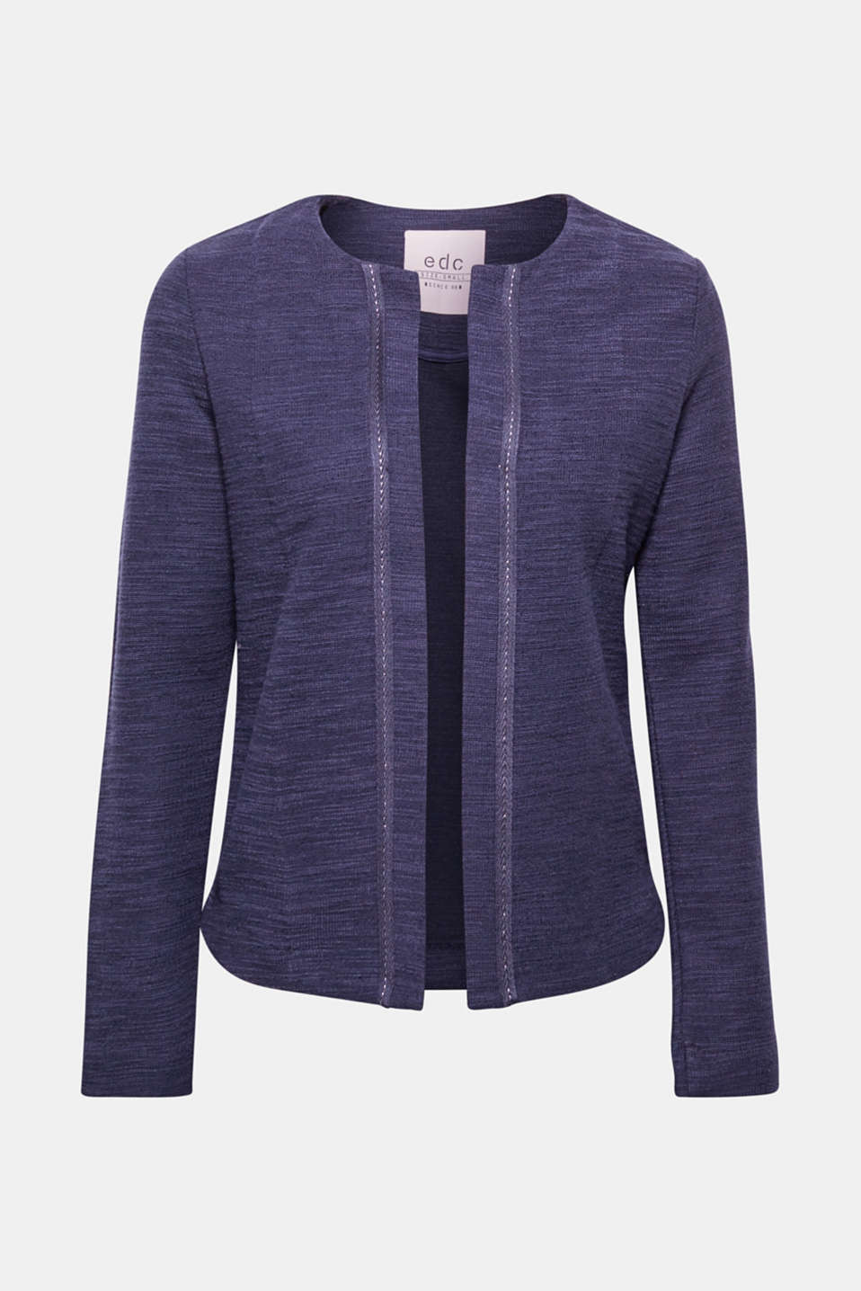 This soft jacket with a bouclé texture and accentuating, woven tape piping is a fantastic alternative to a cardigan.