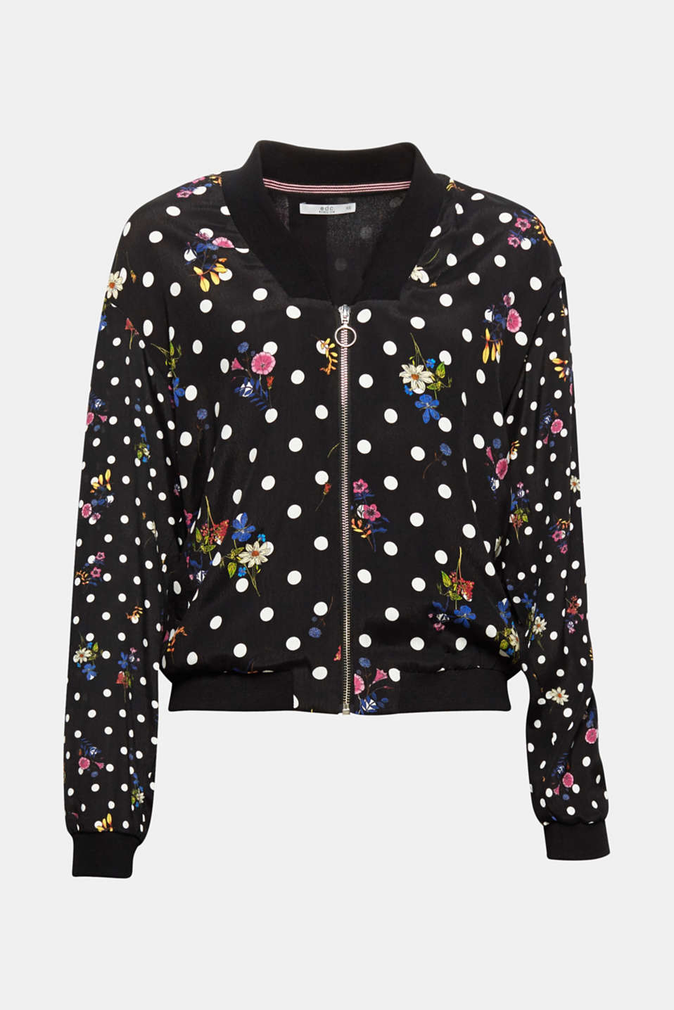 This lightweight bomber jacket is a great eye-catcher thanks to the mixed pattern of charming polka dots and romantic flowers.