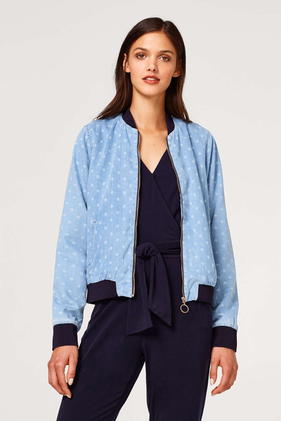 edc - Denim-effect bomber jacket with polka dots