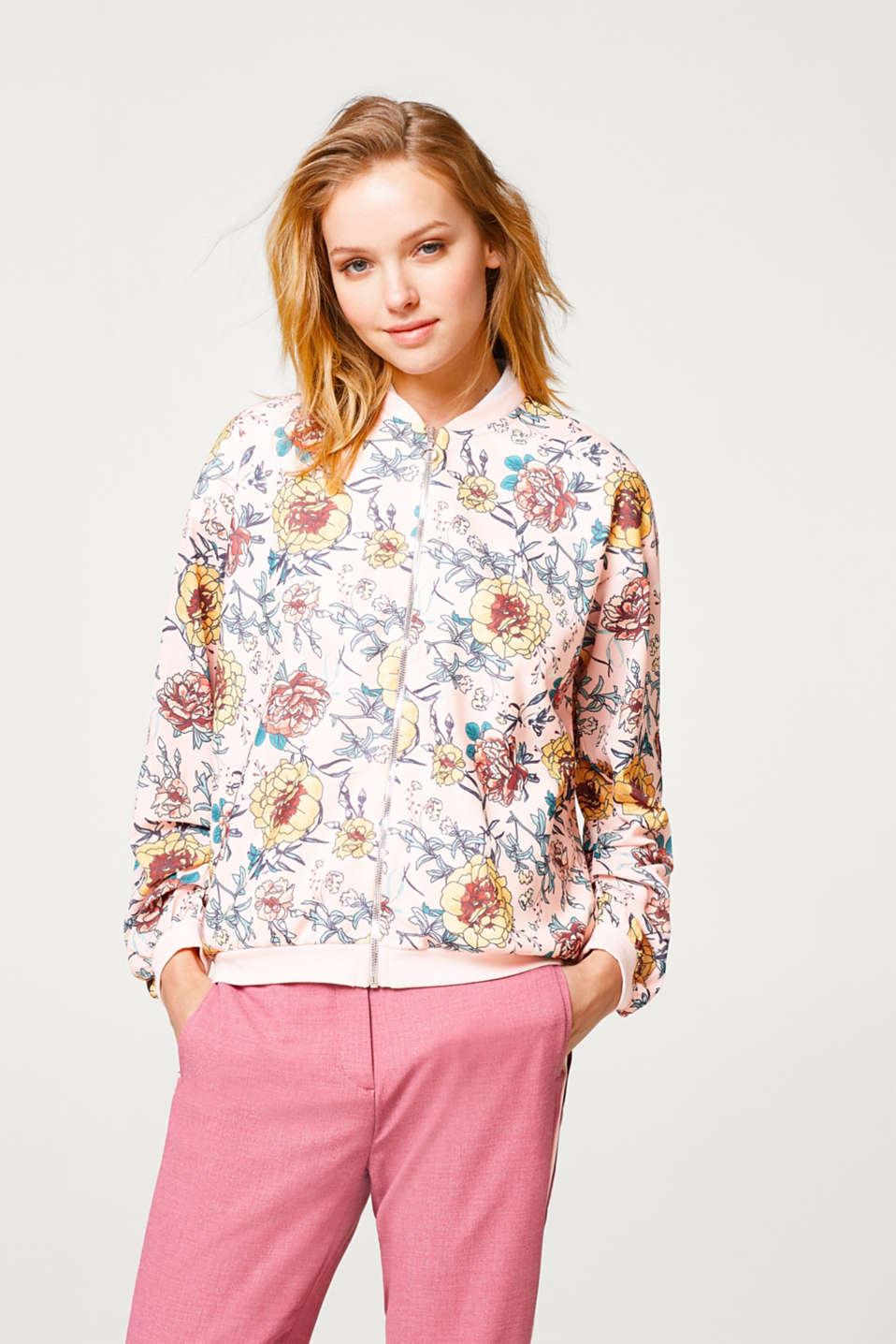 edc - Floral bomber jacket in sweatshirt fabric and crêpe