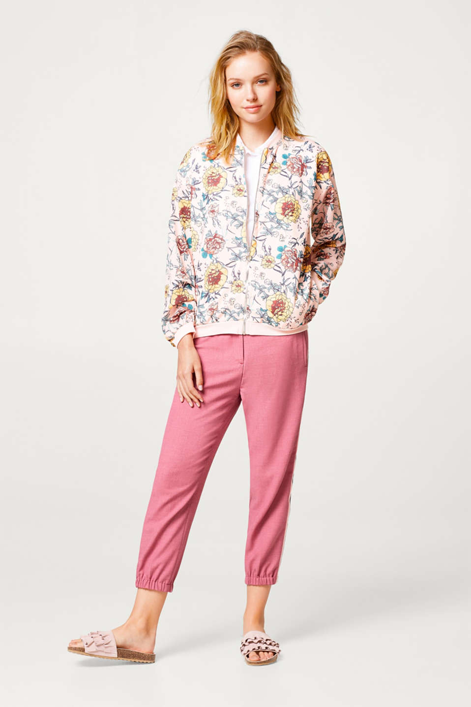 Floral bomber jacket in sweatshirt fabric and crêpe