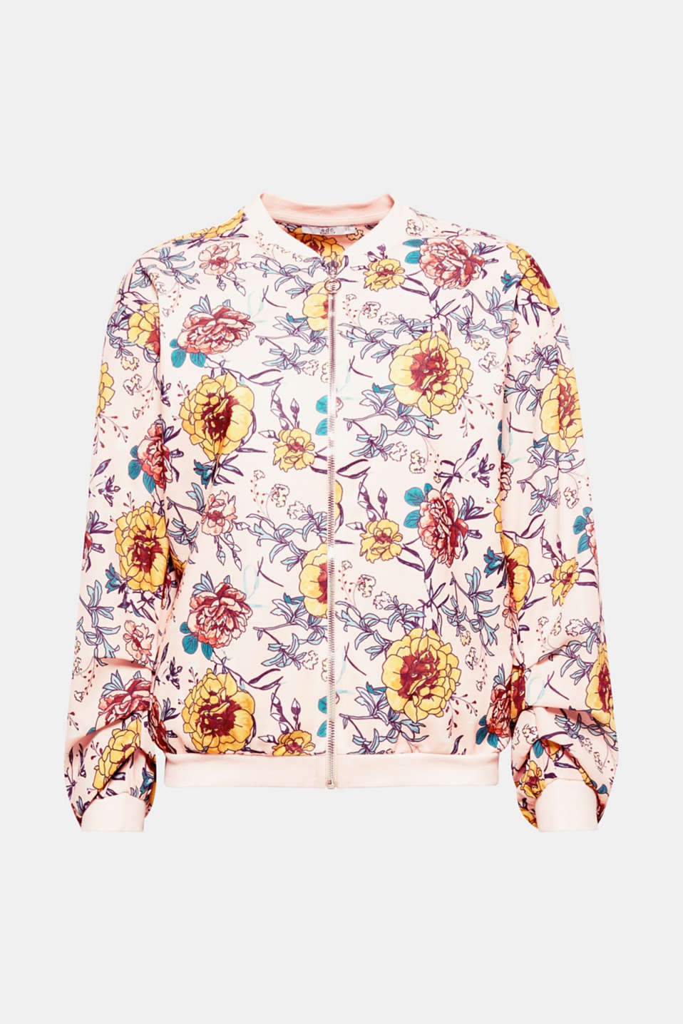 In full bloom! Let spring into your wardrobe with this bomber jacket in a floral look in a material mix.