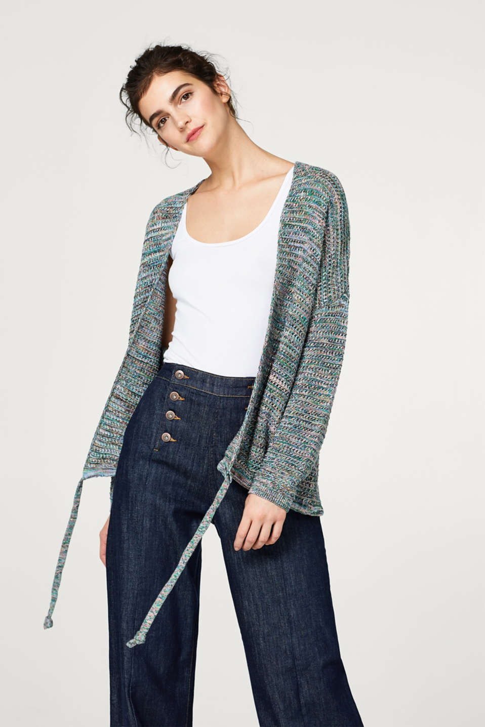 edc - Cardigan ample multicolore en 100 % coton