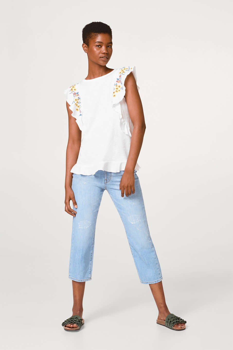 Embroidered flounce T-shirt in cotton