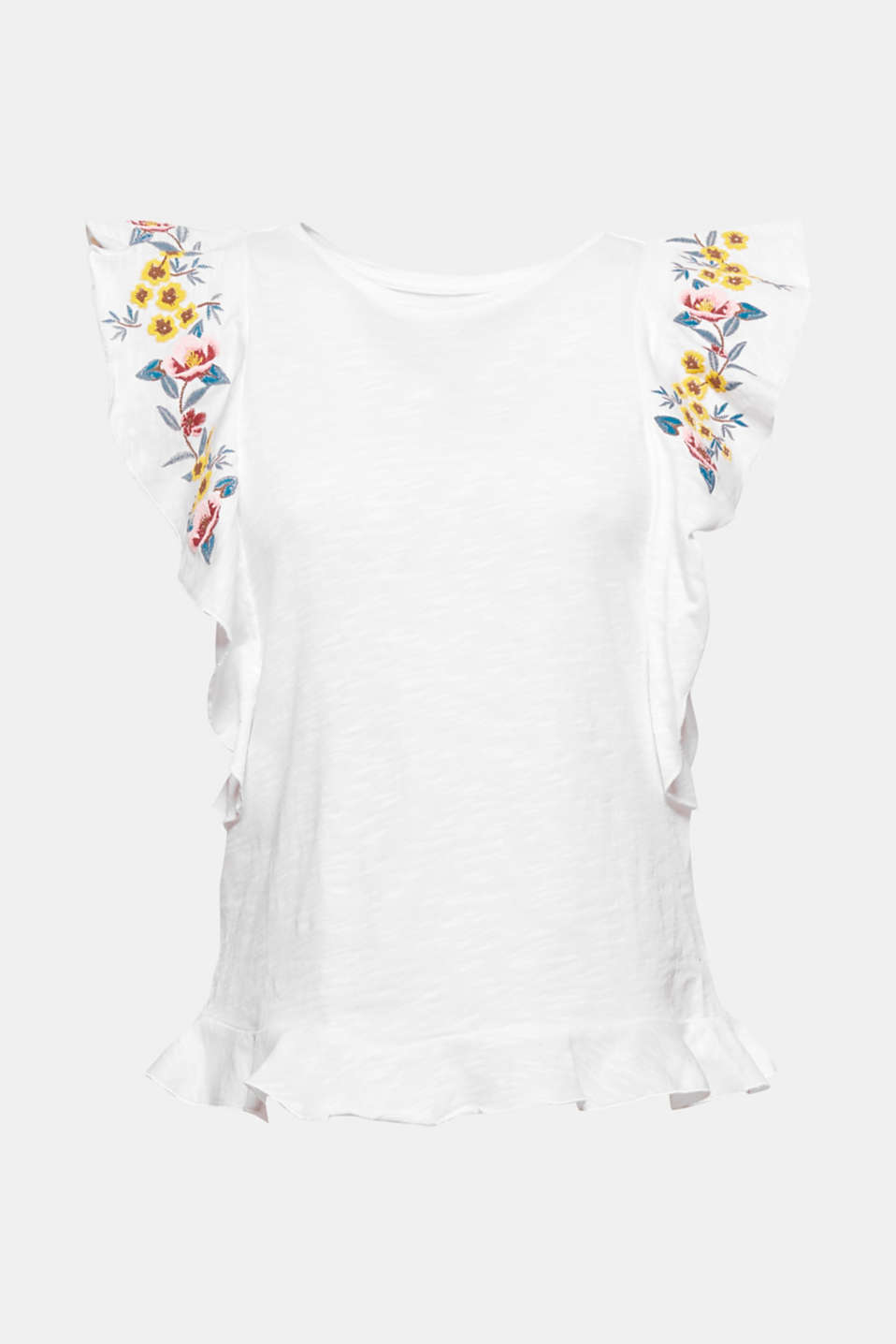 Ready for summer: this slub, pure cotton T-shirt has a feminine fell thanks to the flounces and floral embroidery.