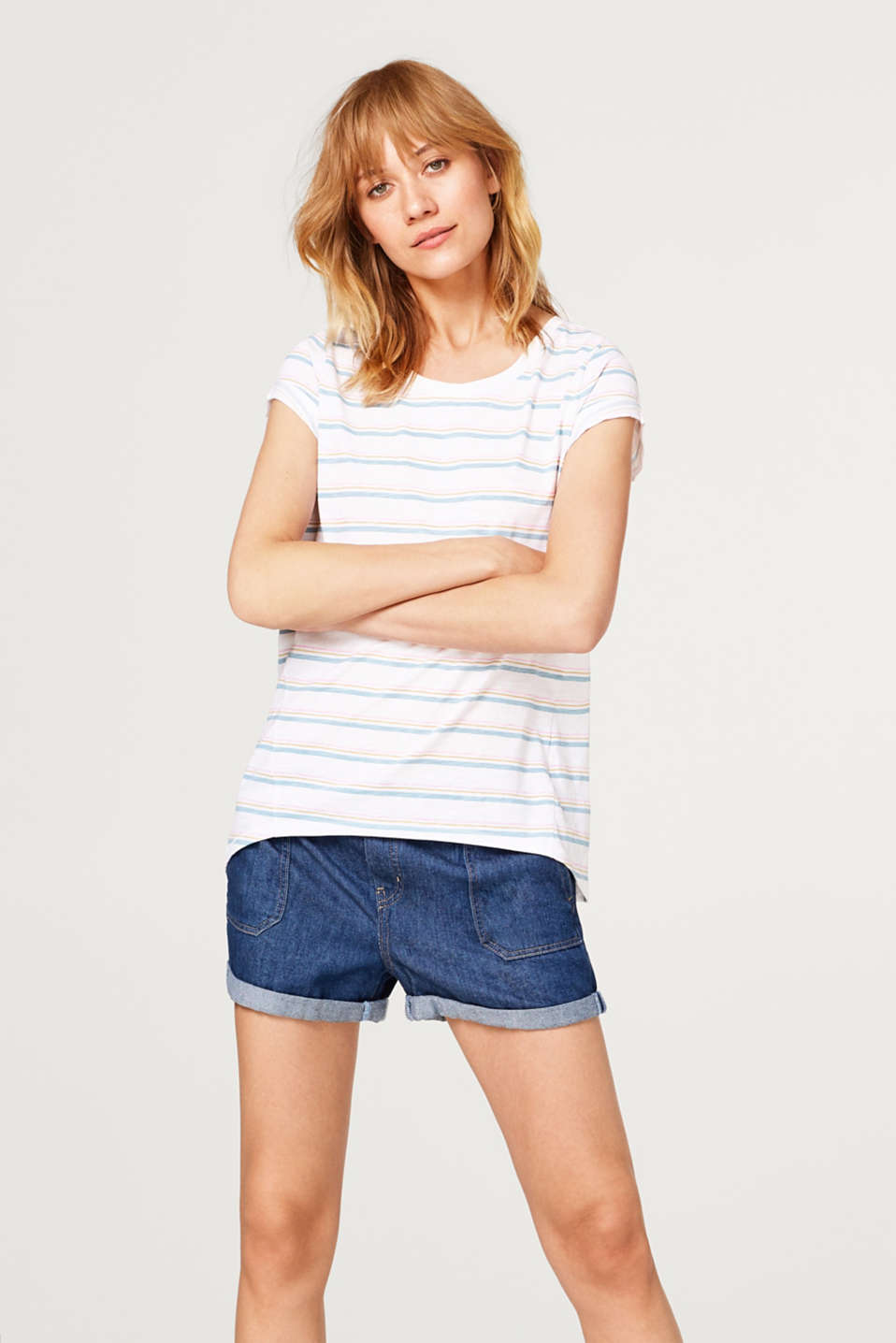 edc - Slub T-shirt with a striped pattern, 100% cotton