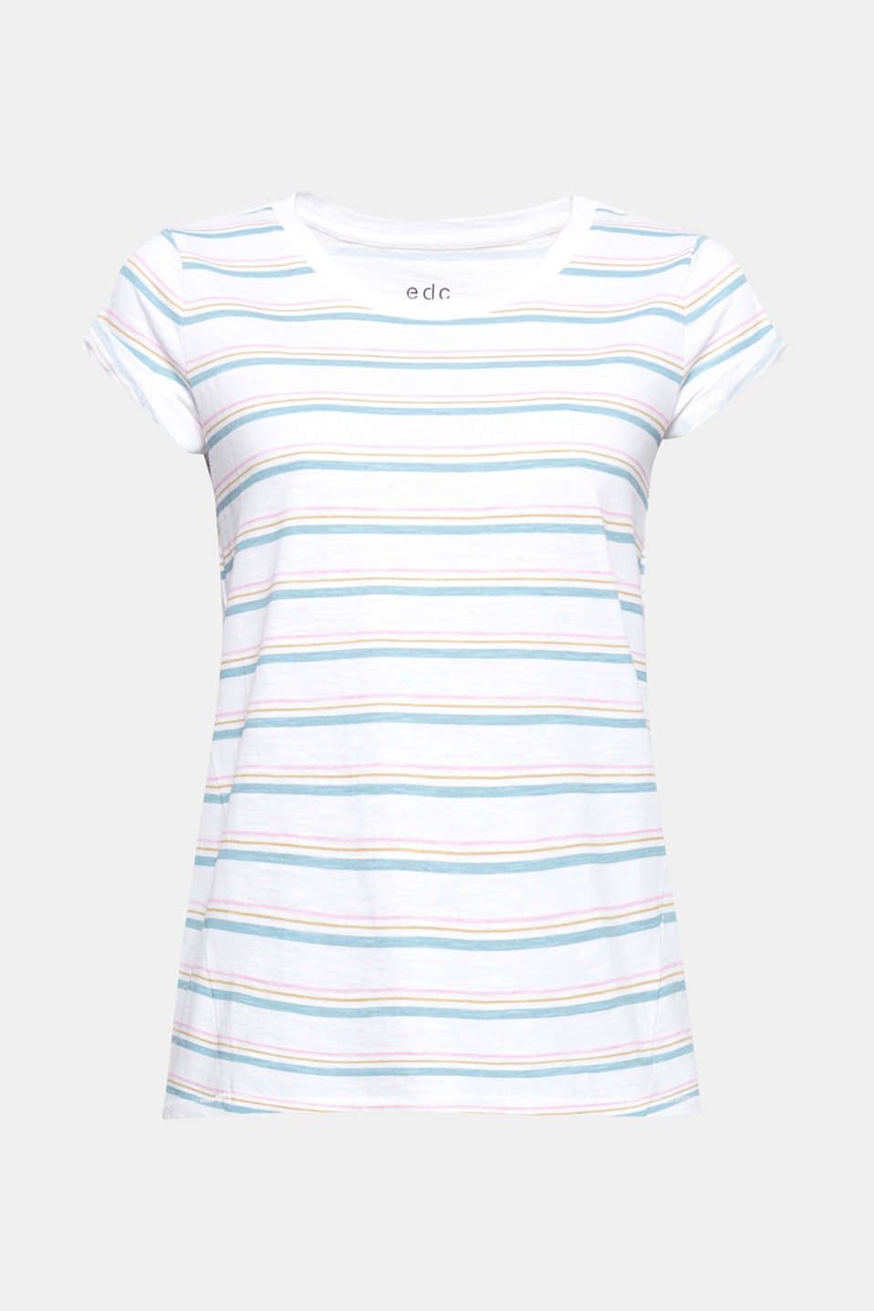 Various striped patterns, the melange texture and the slightly flared silhouette give this T-shirt its uncomplicated, cheerful look!