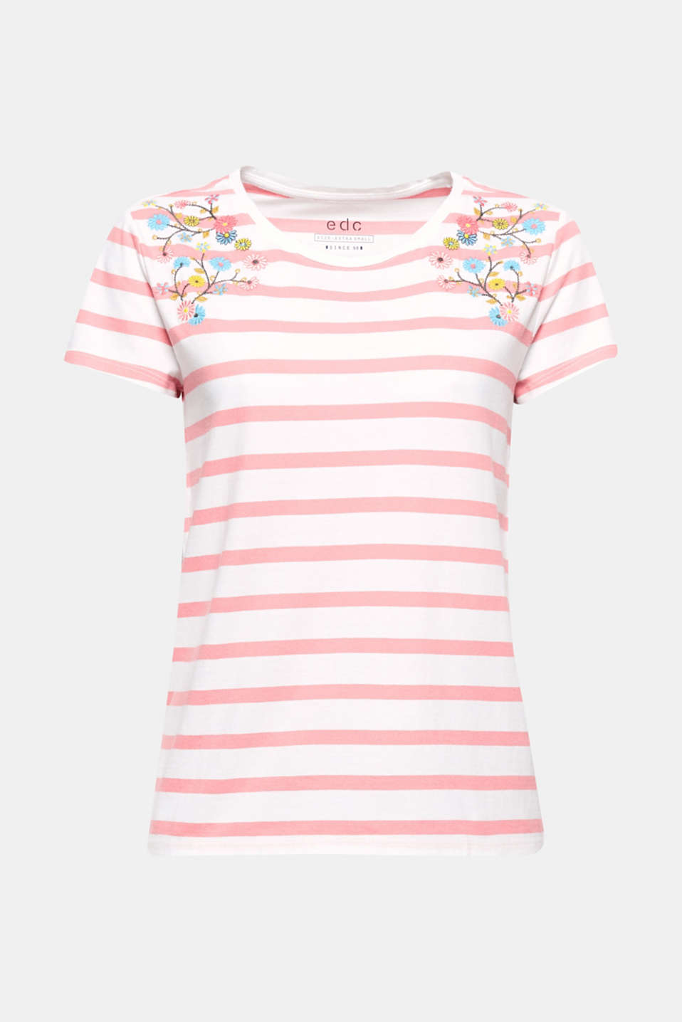 Striped pattern meets colourful flowers! This striped cotton top is a head-turner thanks to its floral embroidery.