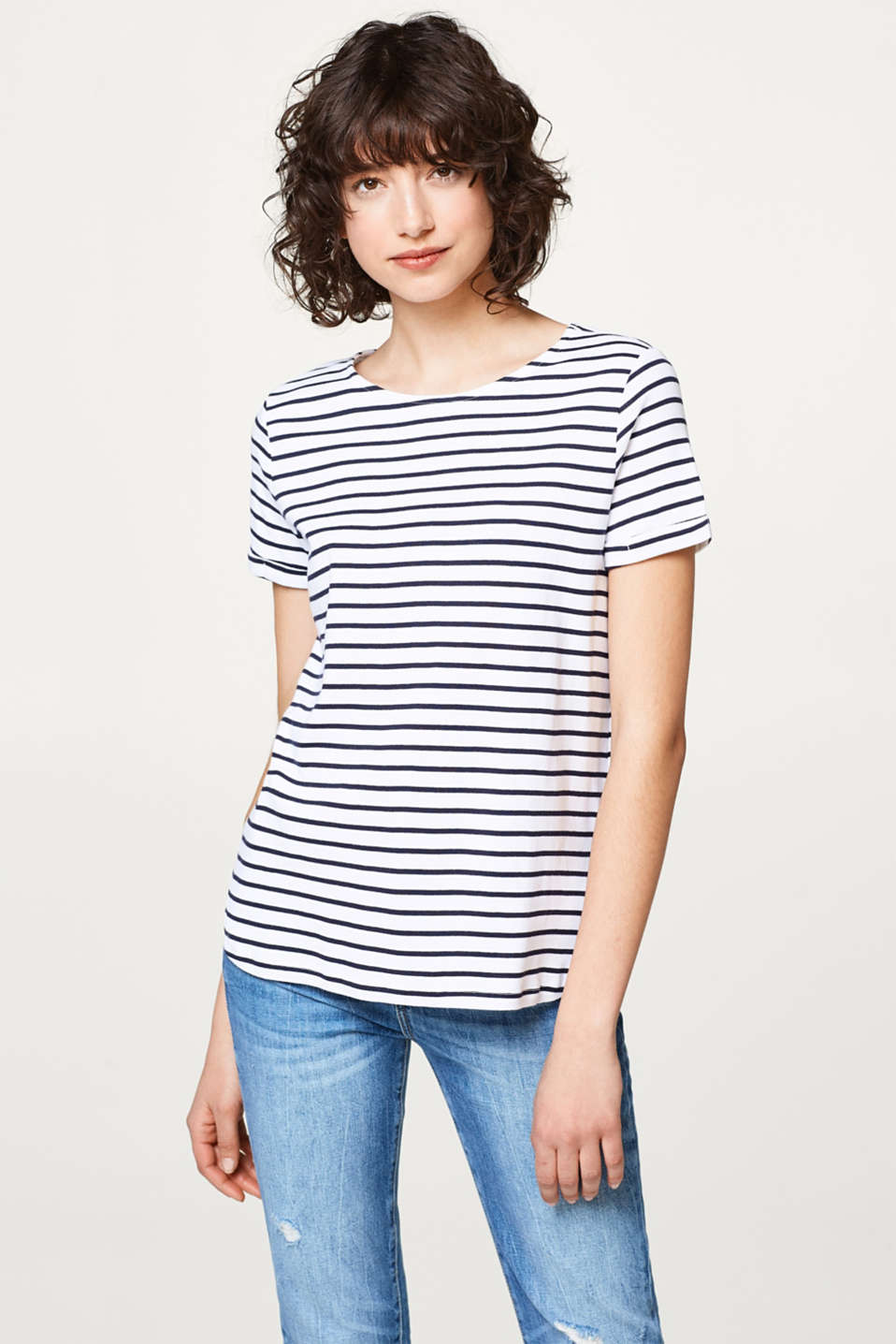 edc - Striped T-shirt with a decorative back, 100% cotton