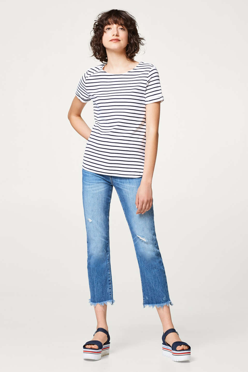 Striped T-shirt with a decorative back, 100% cotton