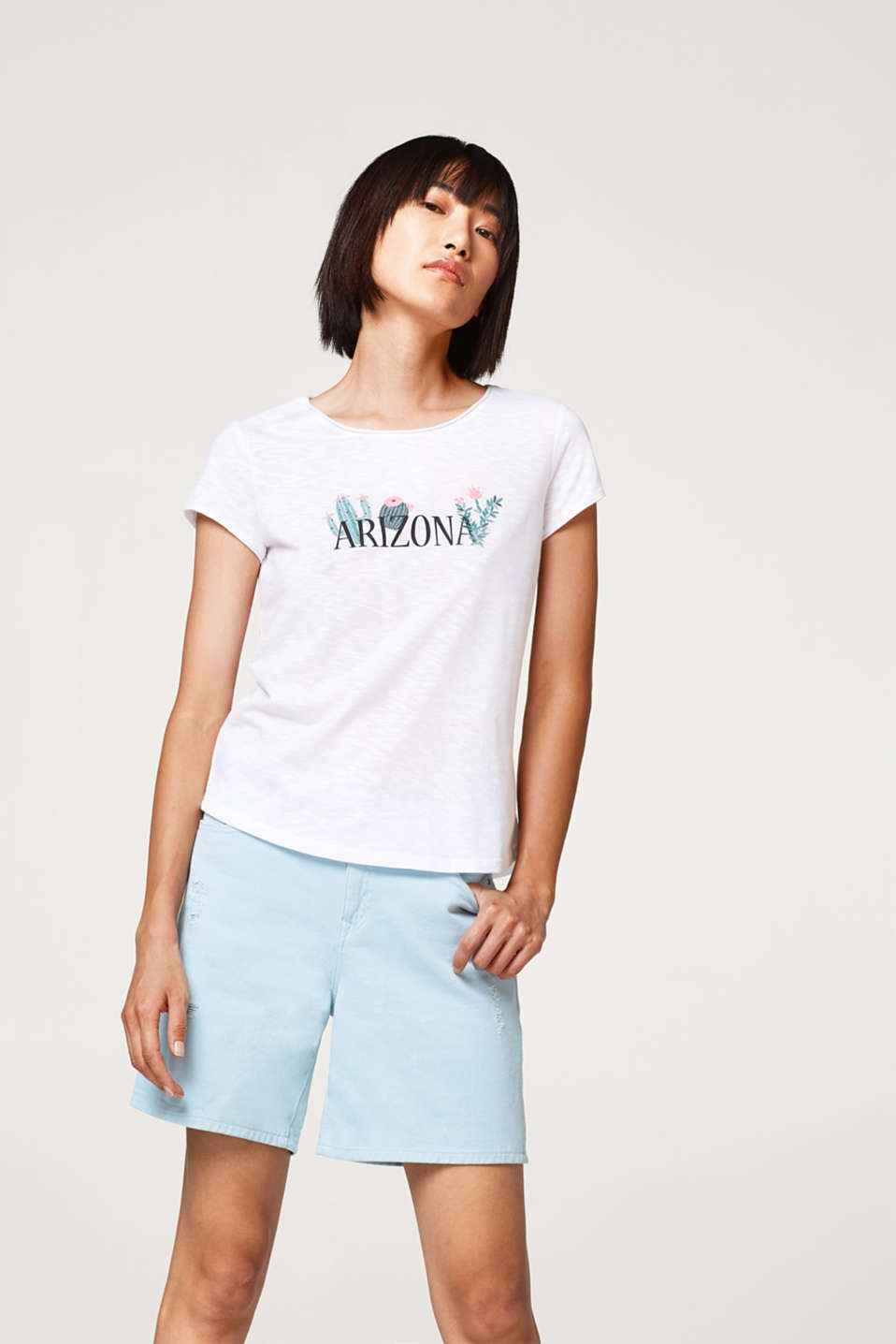 edc - Airy slub T-shirt with a rubber-coated statement print