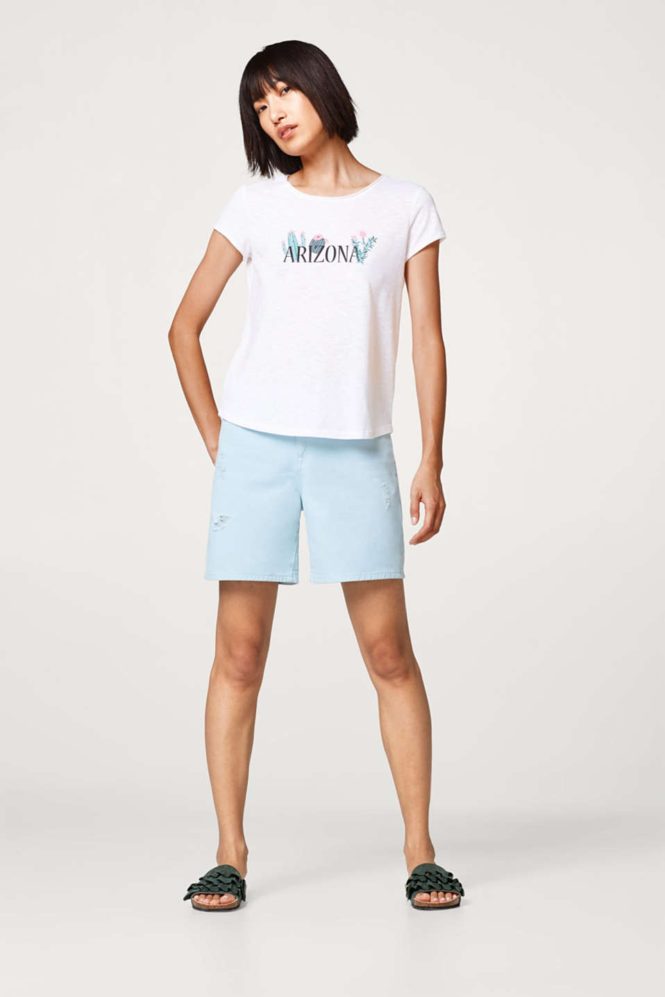 Airy slub T-shirt with a rubber-coated statement print