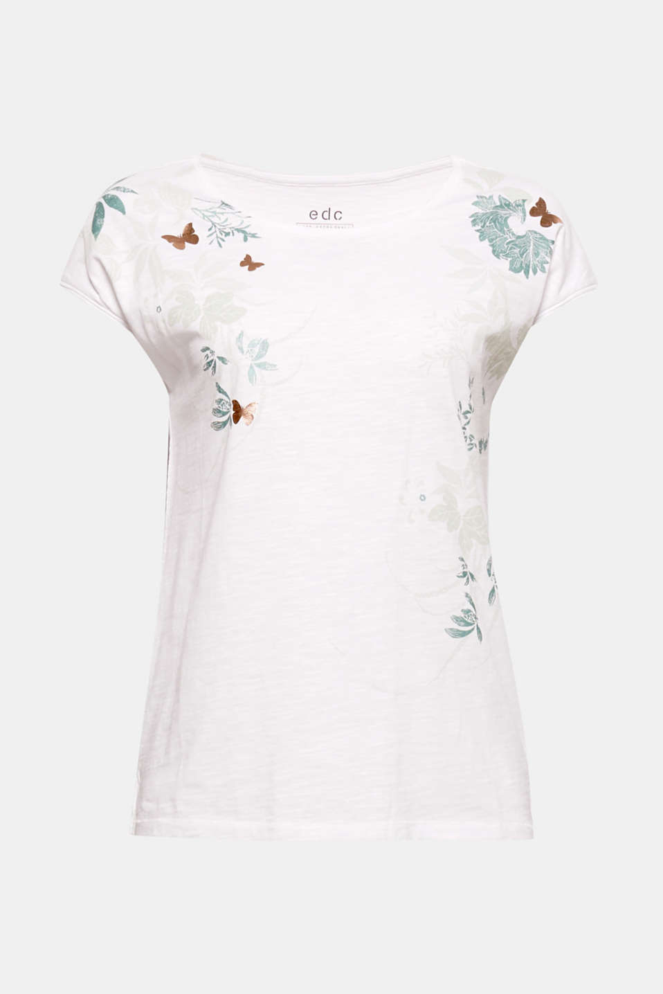 This soft cotton T-shirt with curled edges is decorated with shiny butterflies and colourful leaves.