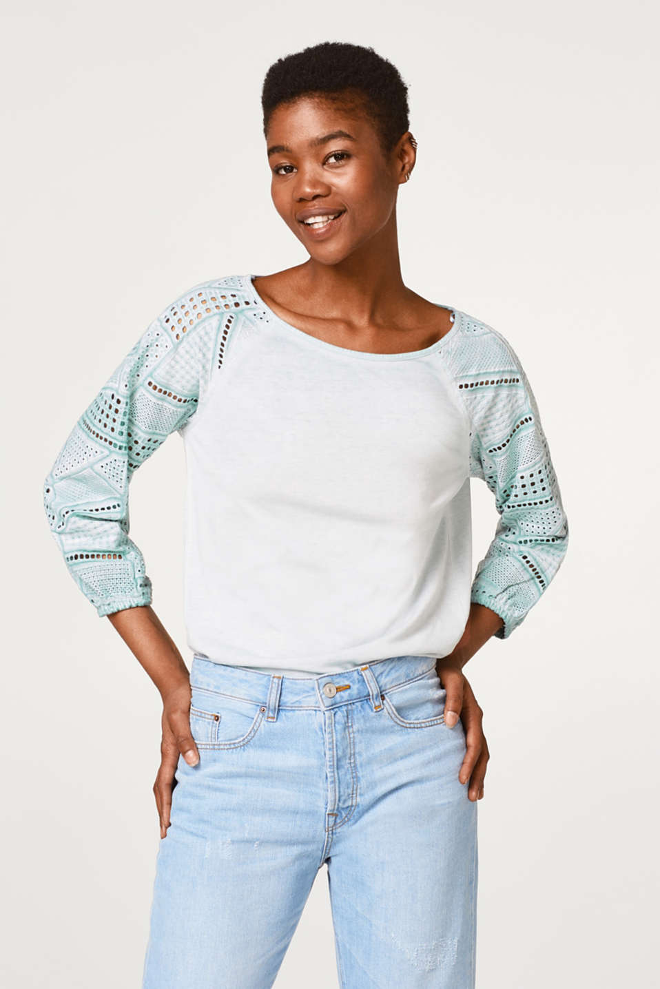 edc - Airy blouse with lace sleeves