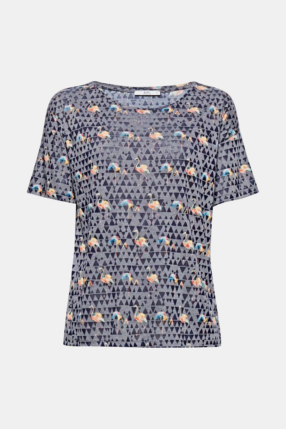 Super soft and with a stylish effect: round neck T-shirt with a geometric burnt-out pattern and all-over print.
