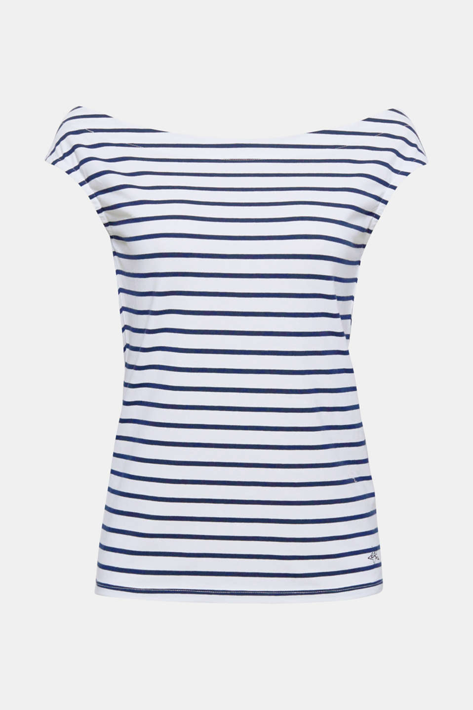 Feminine, stylish and summer-ready, this striped cotton Carmen top with stretch for comfort is the perfect everyday favourite