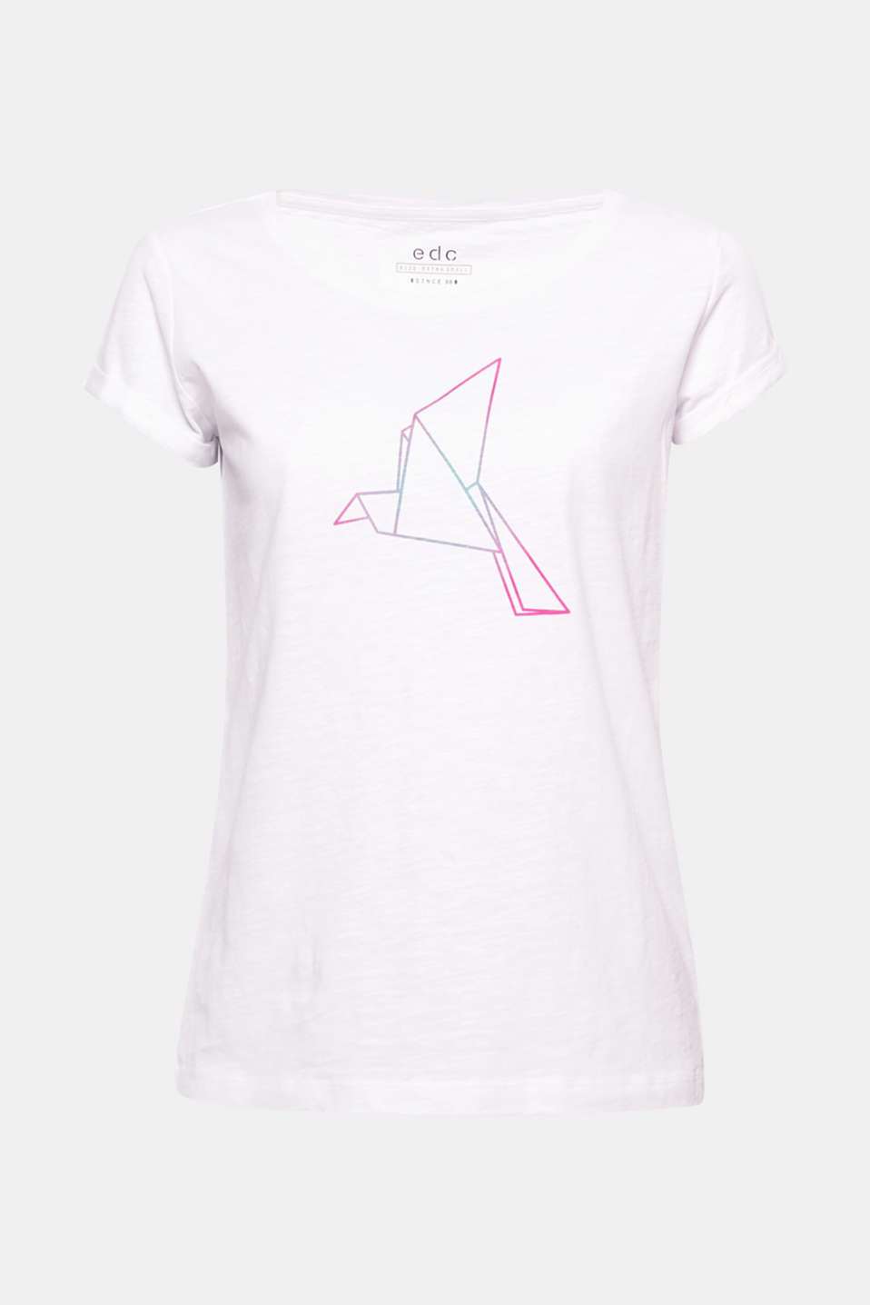 The neon-coloured bird print in a graphic style gives this airy, textured cotton T-shirt a super fashionable twist!