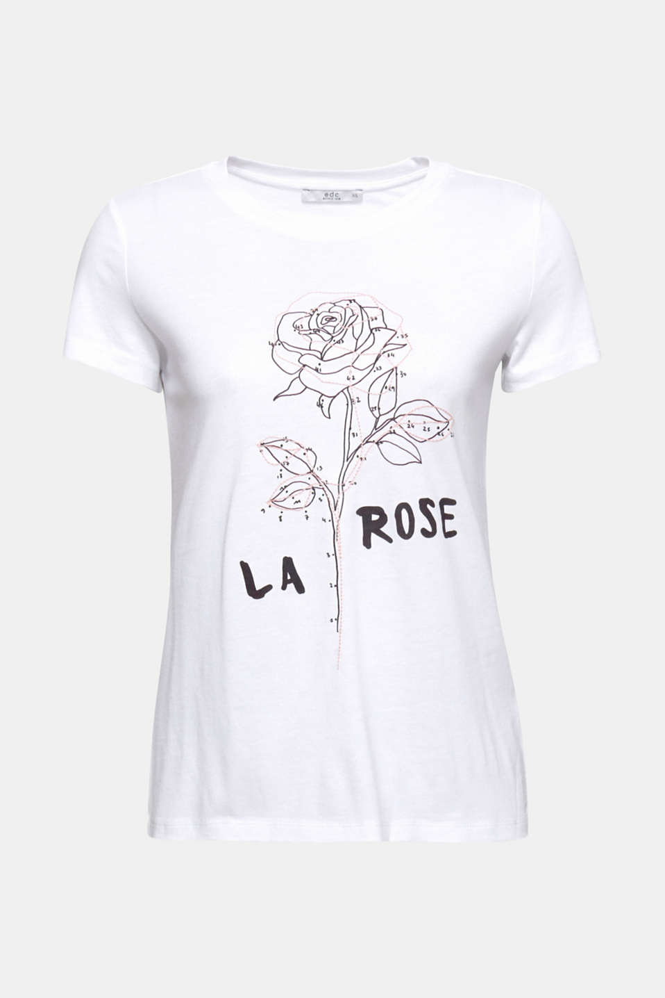 The finely embroidered rose print makes this round neckline T-shirt a romantic head-turner!
