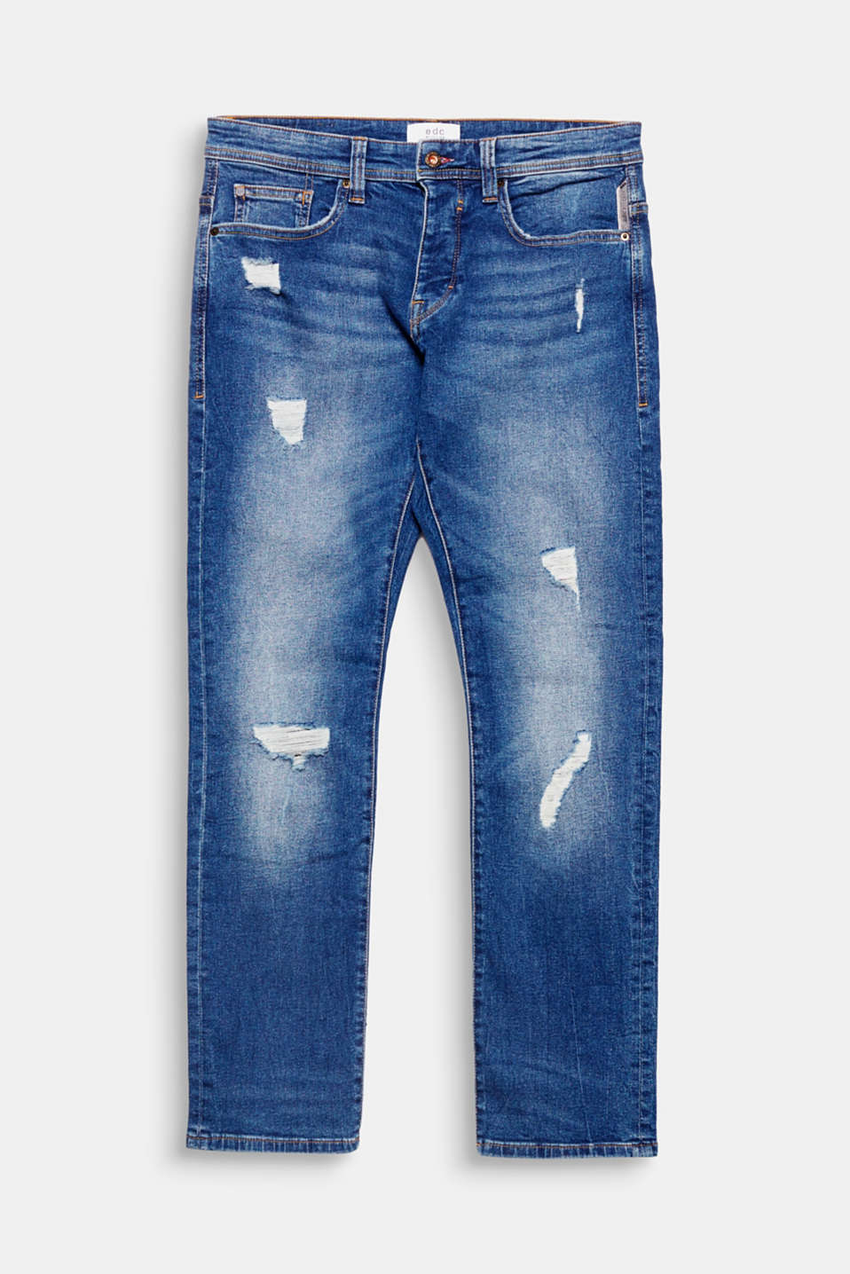 We love denim! Distinctive distressed effects give these five-pocket jeans a modern, urban look.