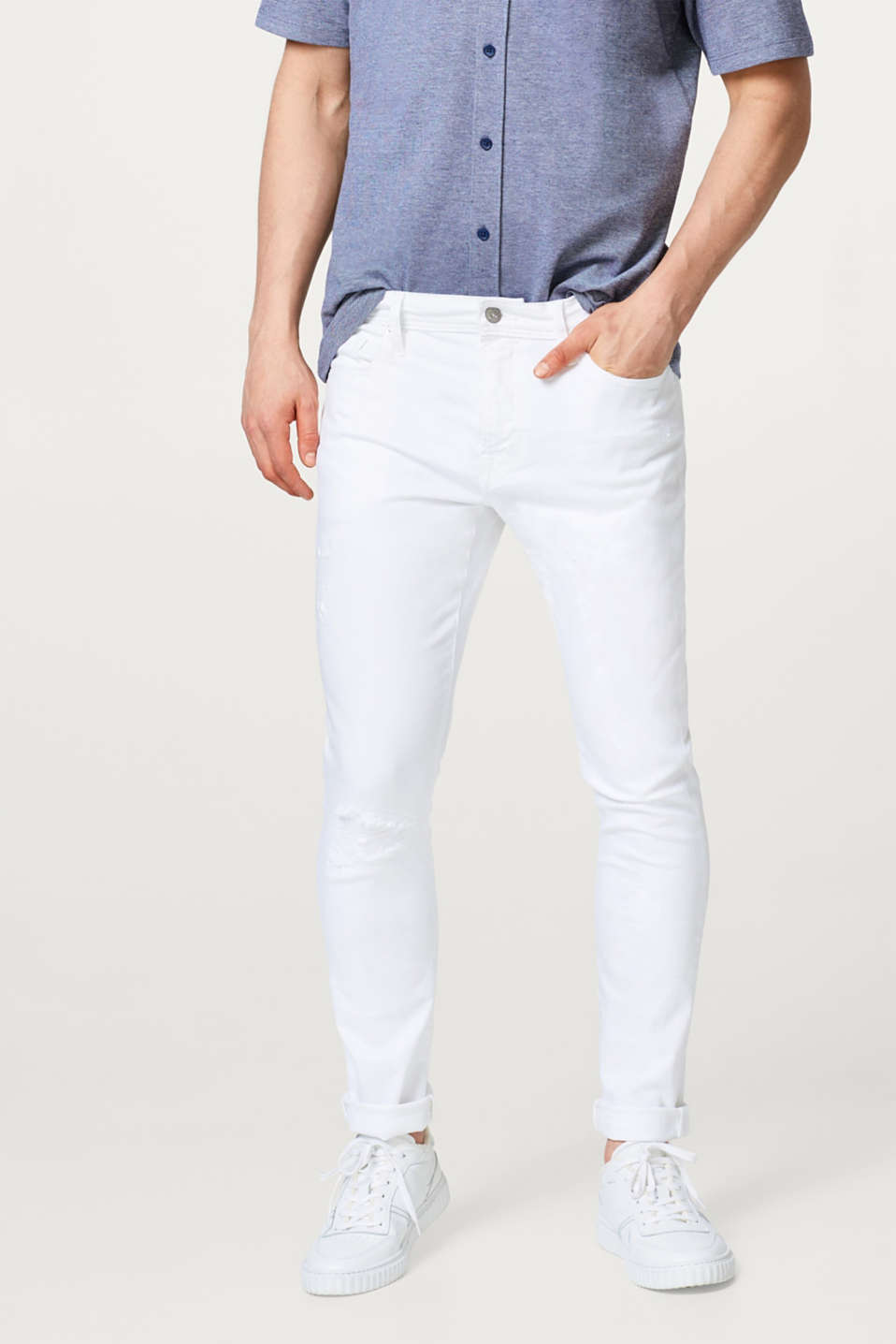 edc - Witte stretchjeans met destroyed effect