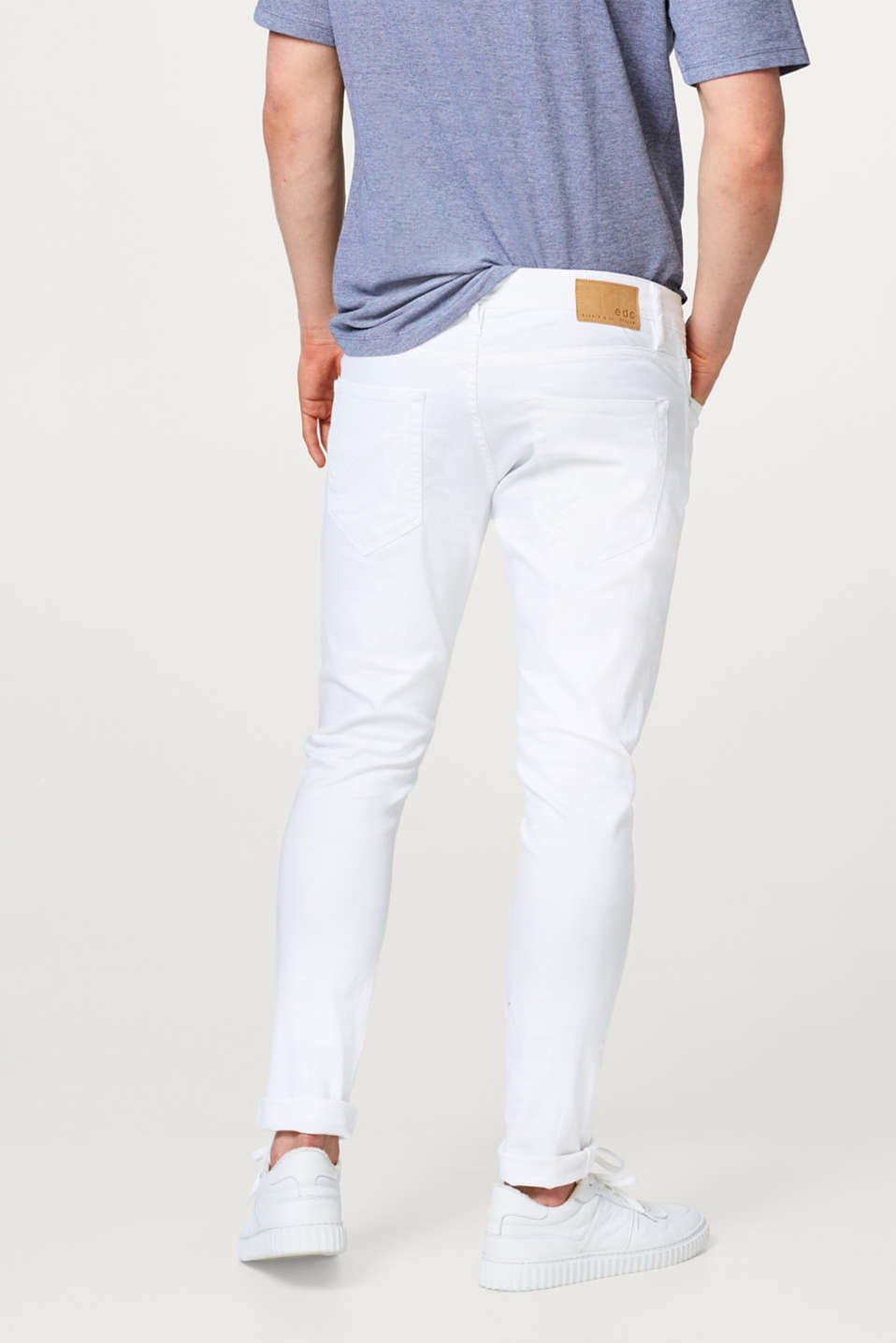 Witte stretchjeans met destroyed effect