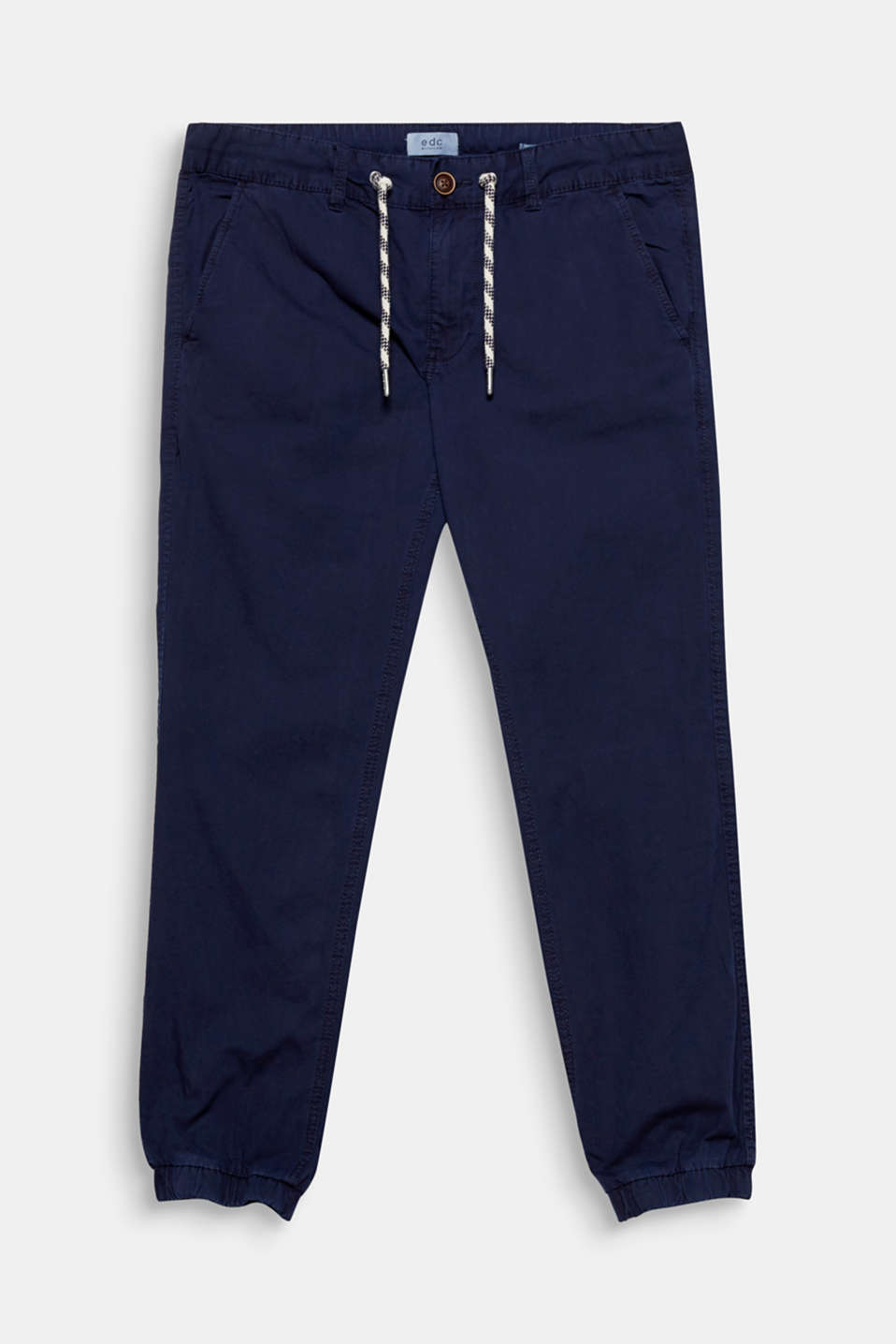 Cool street look! The stretchy hem borders + patterned drawstring ties make these joggers extremely eye-catching.