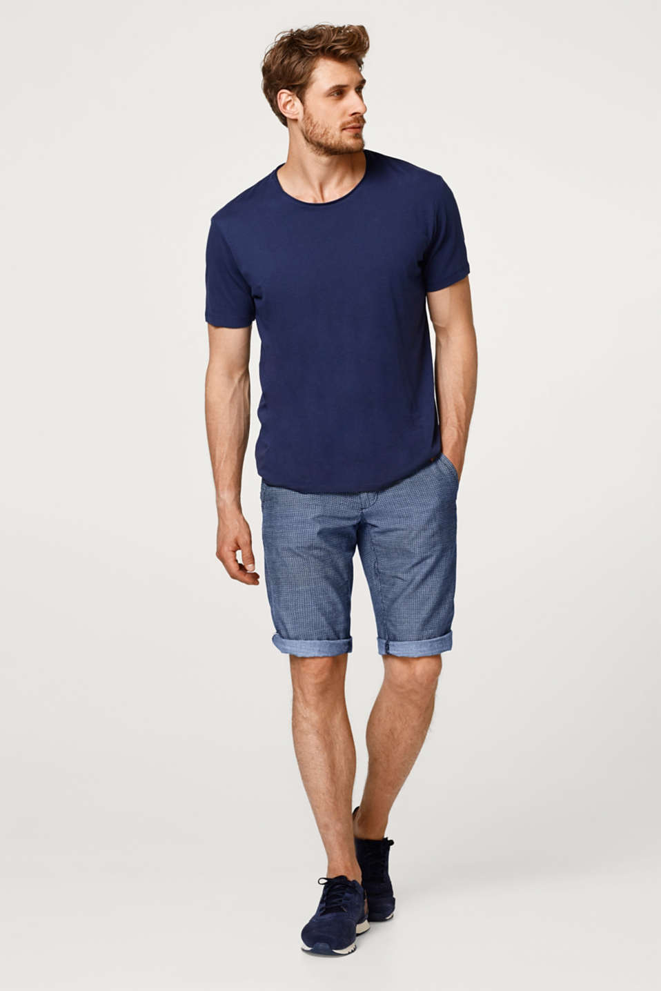 Chambray shorts with a braided belt, made of cotton