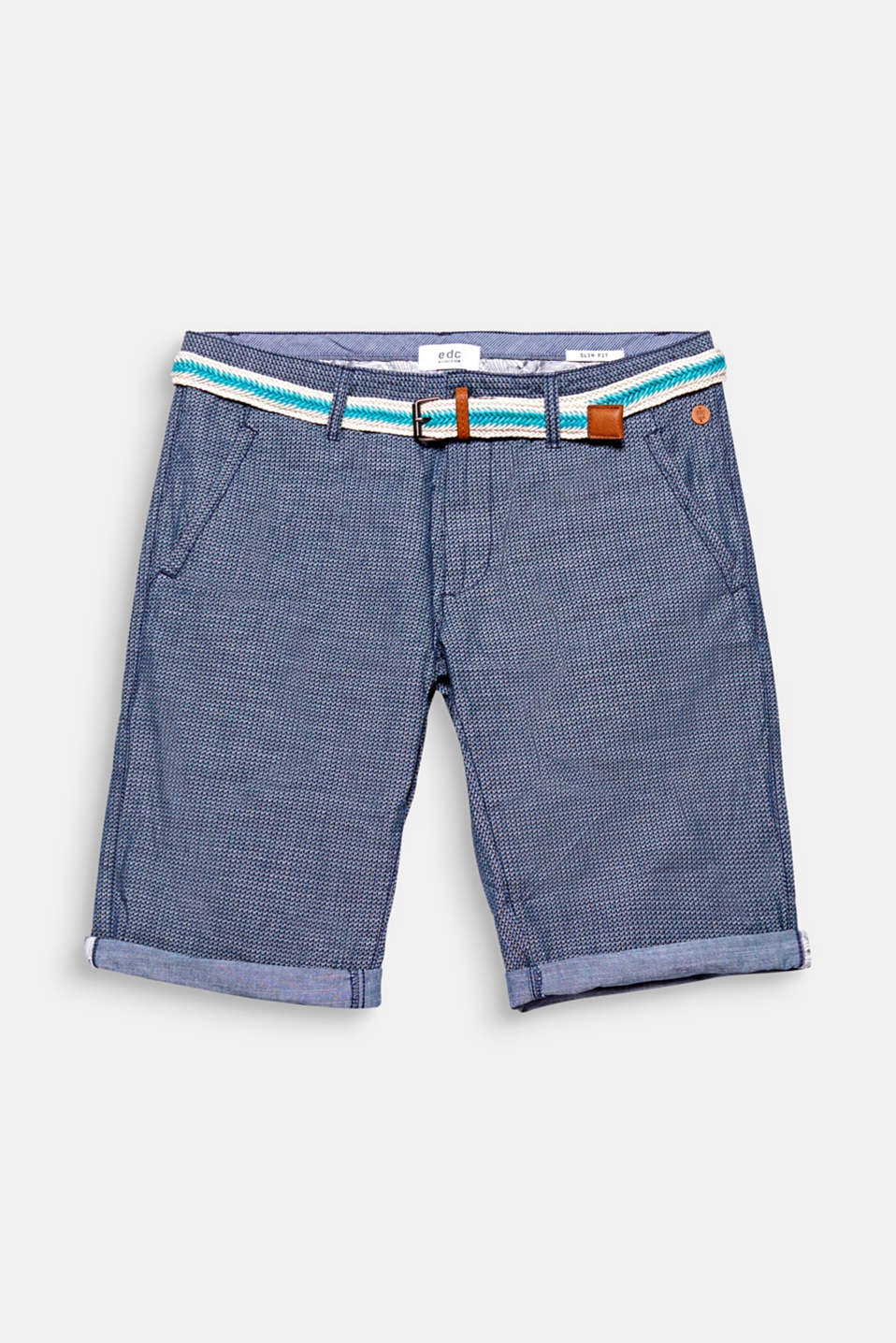 A geometric minimalist print gives these shorts a modern look.