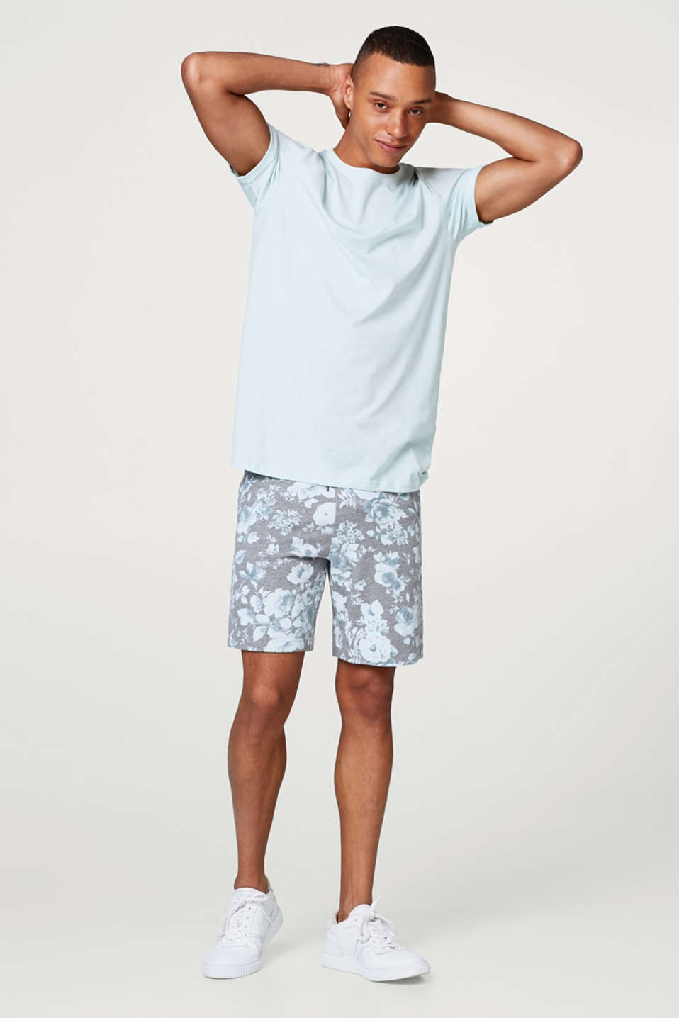 Blended cotton sweat shorts with a floral print