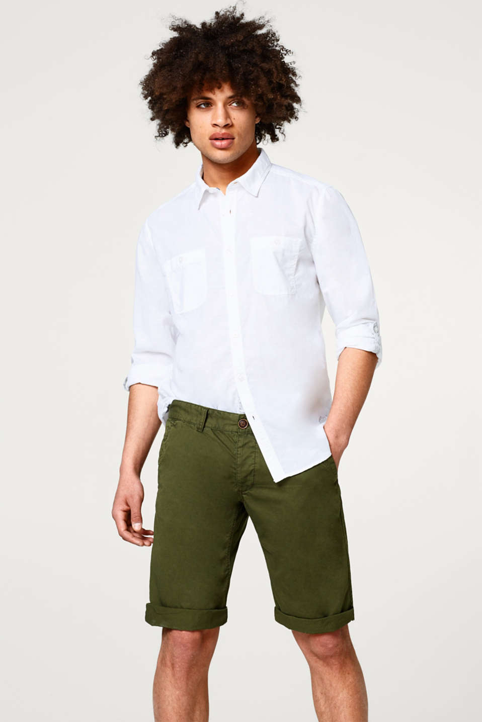 edc - Shirt with linen and turn-up sleeves