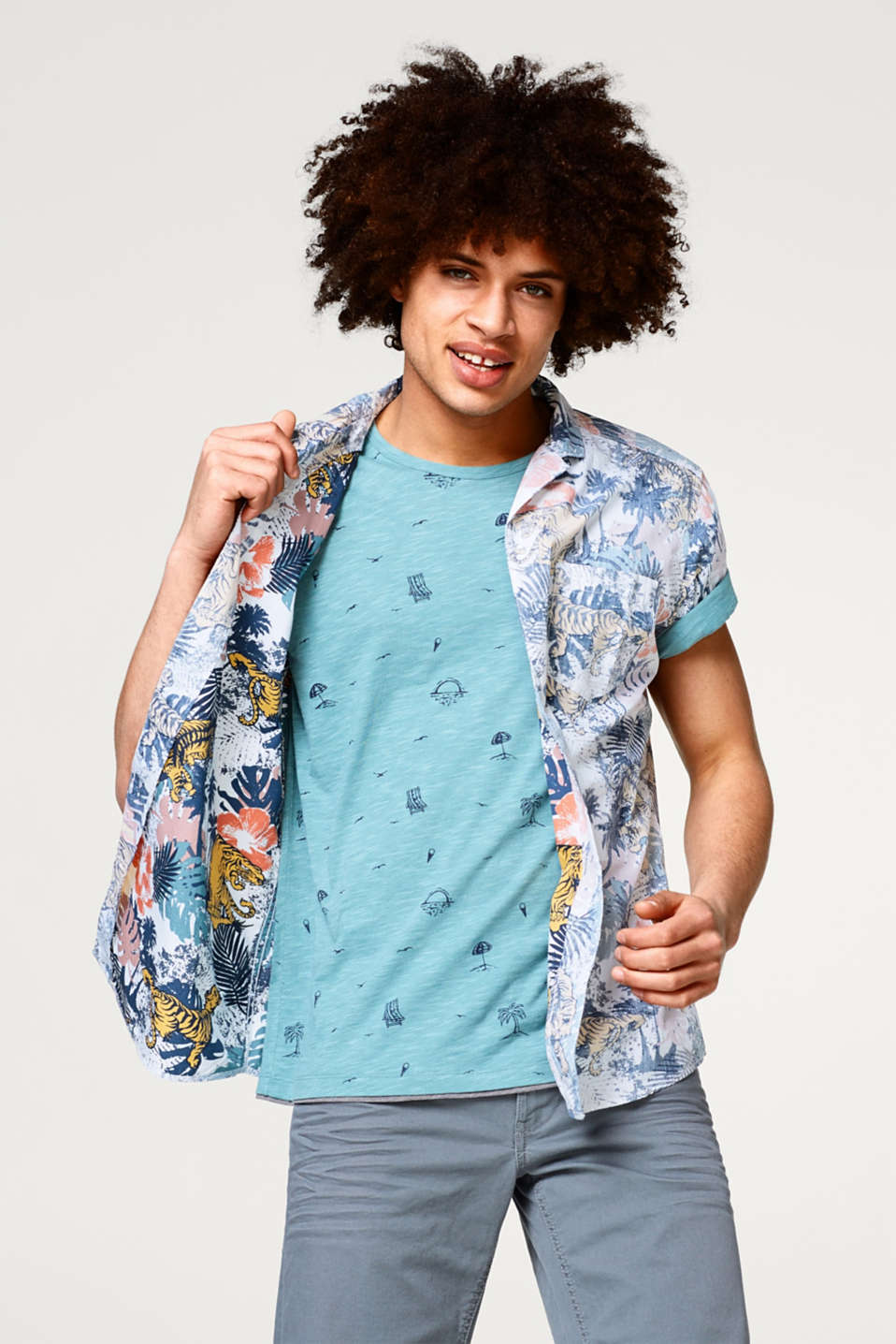 edc - Short sleeve shirt with a tropical inside-out print