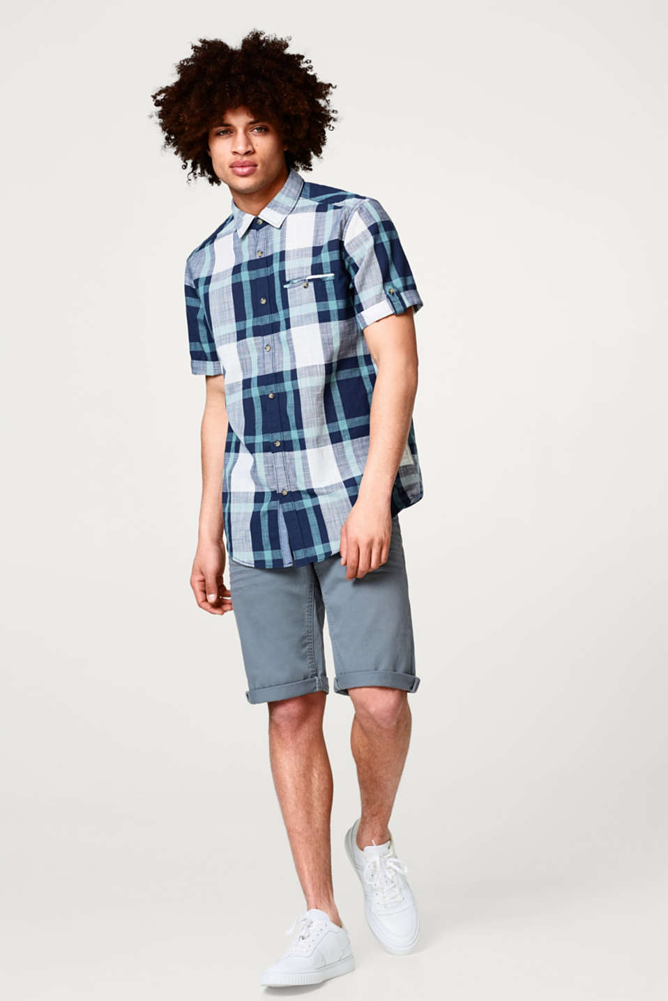 edc - Short sleeve top with a check pattern, 100% cotton
