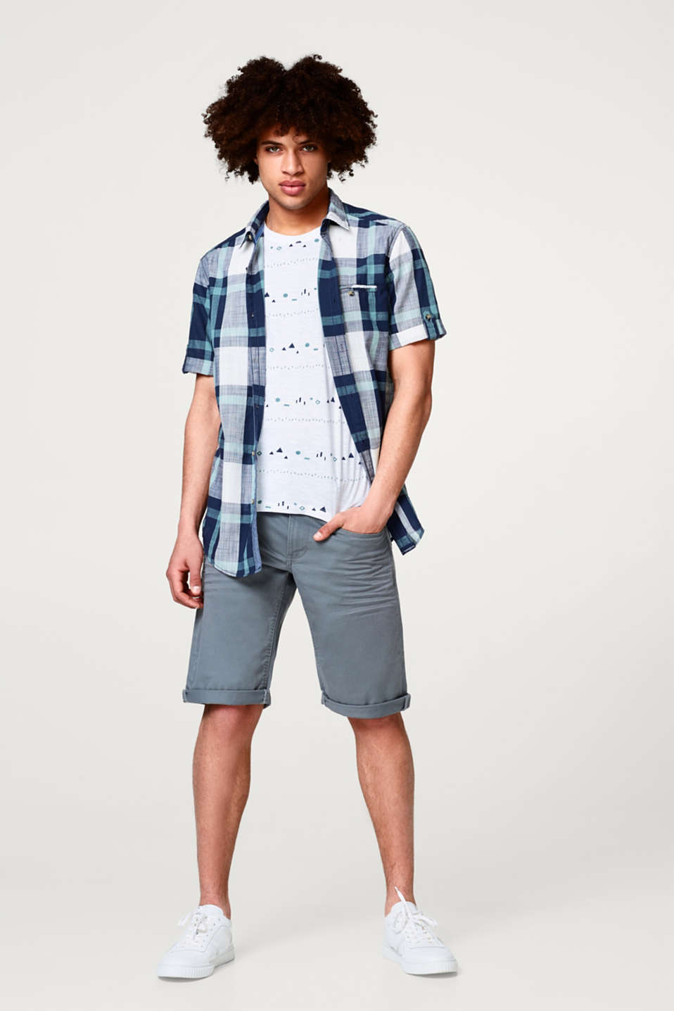 Short sleeve top with a check pattern, 100% cotton